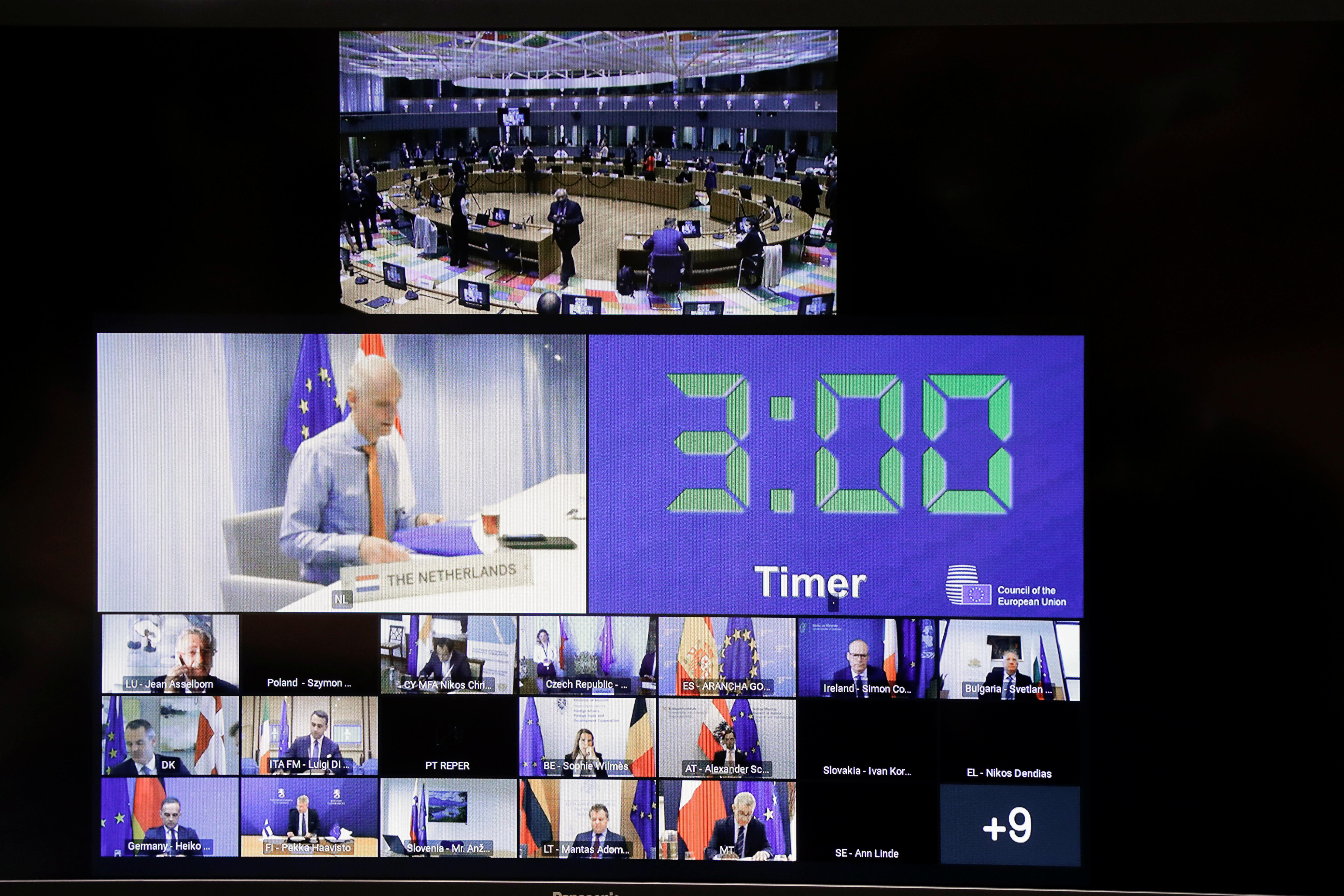 View of the screen during a video conference of EU foreign ministers to discuss recent developments in the Middle East, in particular the ongoing violent confrontation in Israel and the occupied Palestinian Territories, in Brussels, Belgium May 18, 2021. Olivier Hoslet/Pool via REUTERS