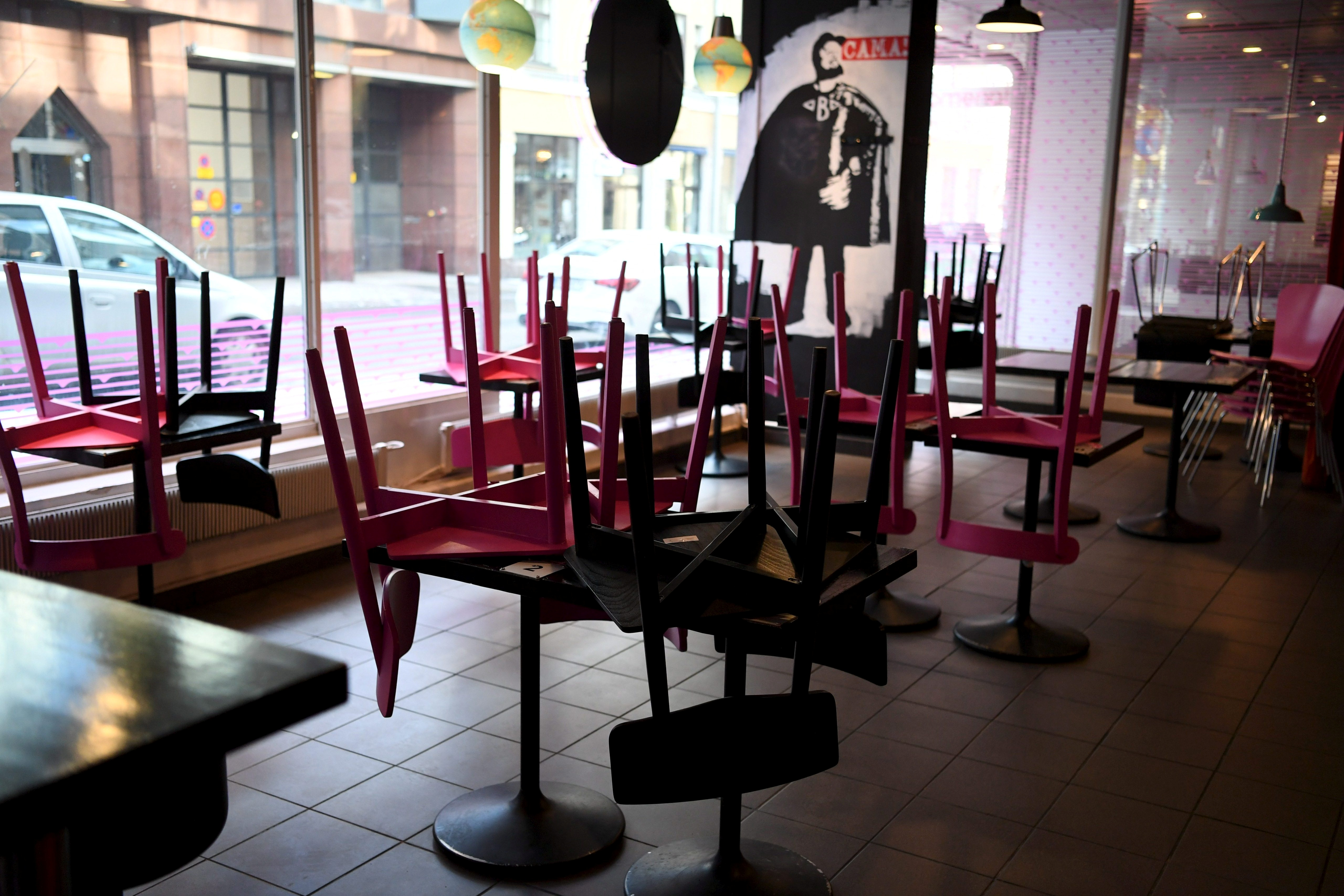 The dining area of the Naughty BRGR is closed while the restaurant serves only takeaway food, as the three weeks long partial lockdown of the restaurants starts due to the coronavirus disease (COVID-19) pandemic, in Helsinki, Finland March 8, 2021. Lehtikuva/Antti Aimo-Koivisto via REUTERS