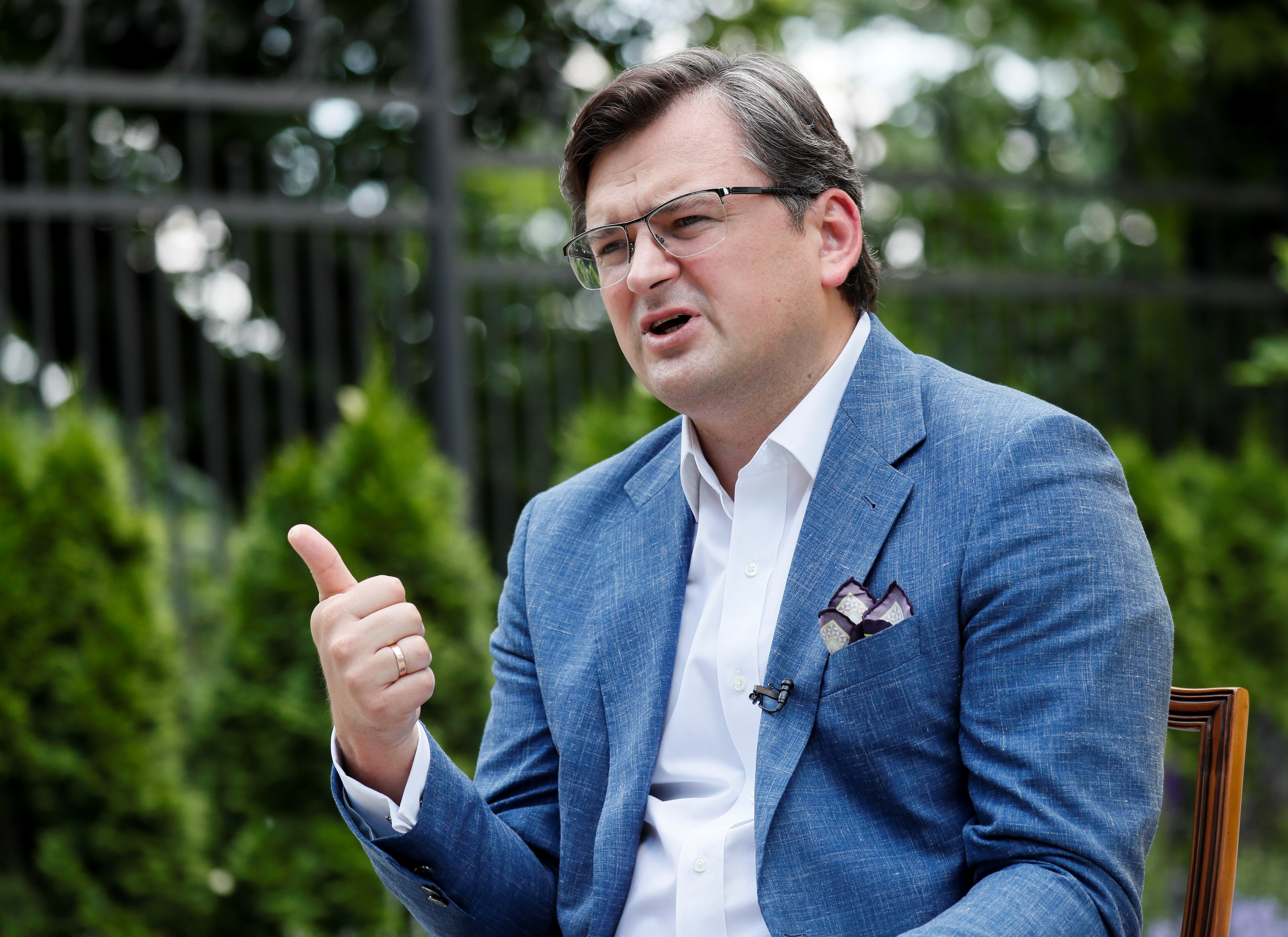 Ukrainian Foreign Minister Dmytro Kuleba speaks during an interview in Kyiv, Ukraine, June 17, 2021. REUTERS/Gleb Garanich