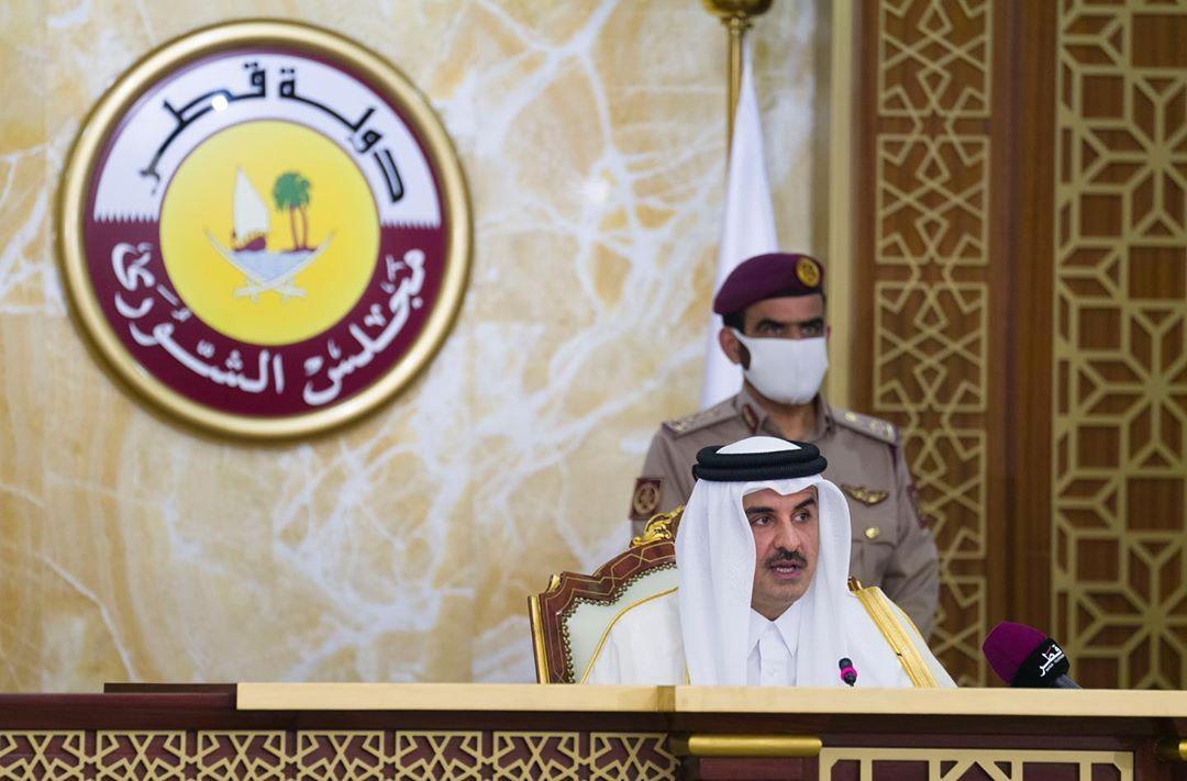 Qatar's ruler, Emir Sheikh Tamim bin Hamad al-Thani, gives a speech to the Shura Council in Doha, Qatar, November 3, 2020.  Qatar News Agency/Handout via REUTERS