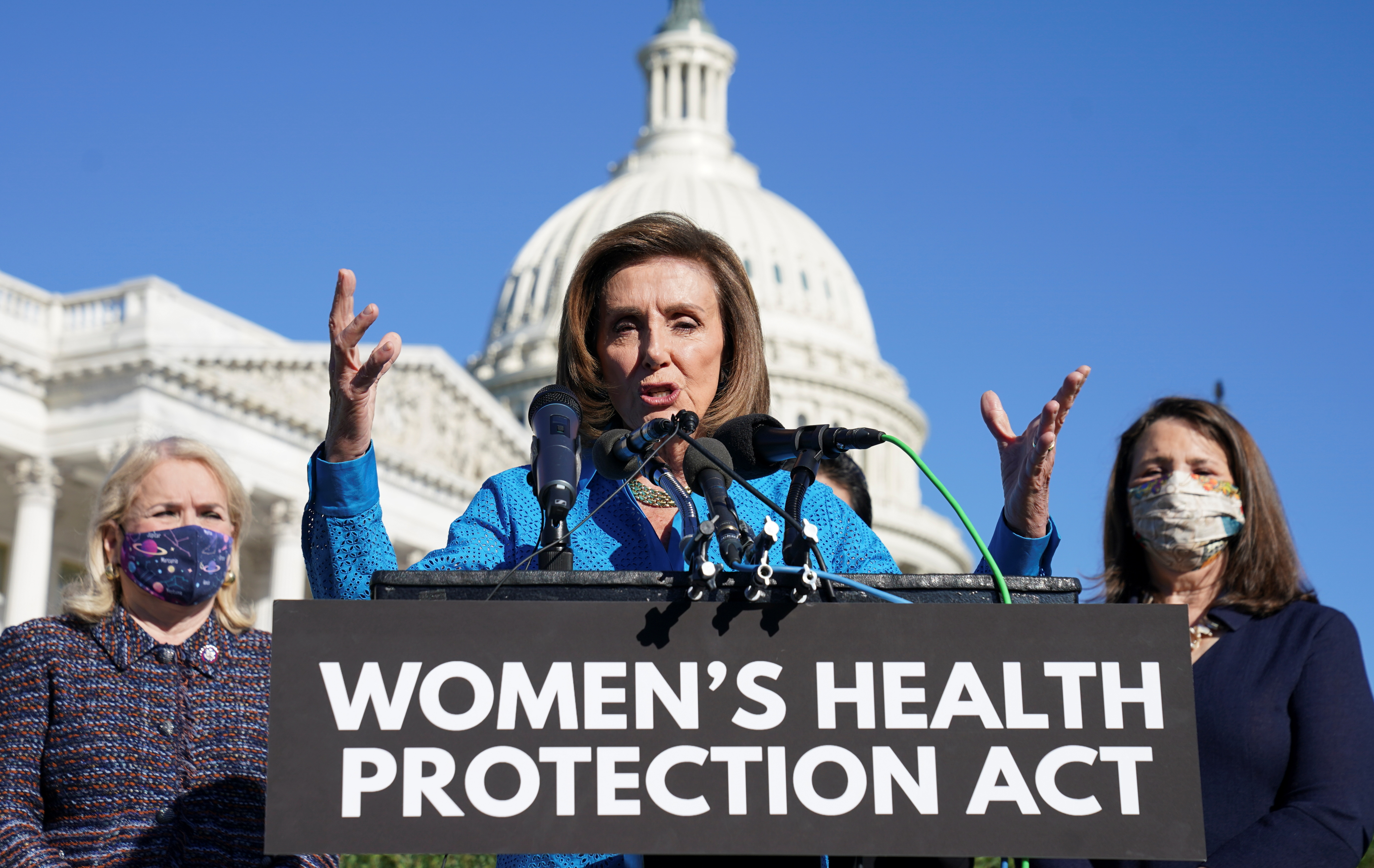 House Speaker Nancy Pelosi (D-CA) speaks during a news conference about the House vote on H.R. 3755, the