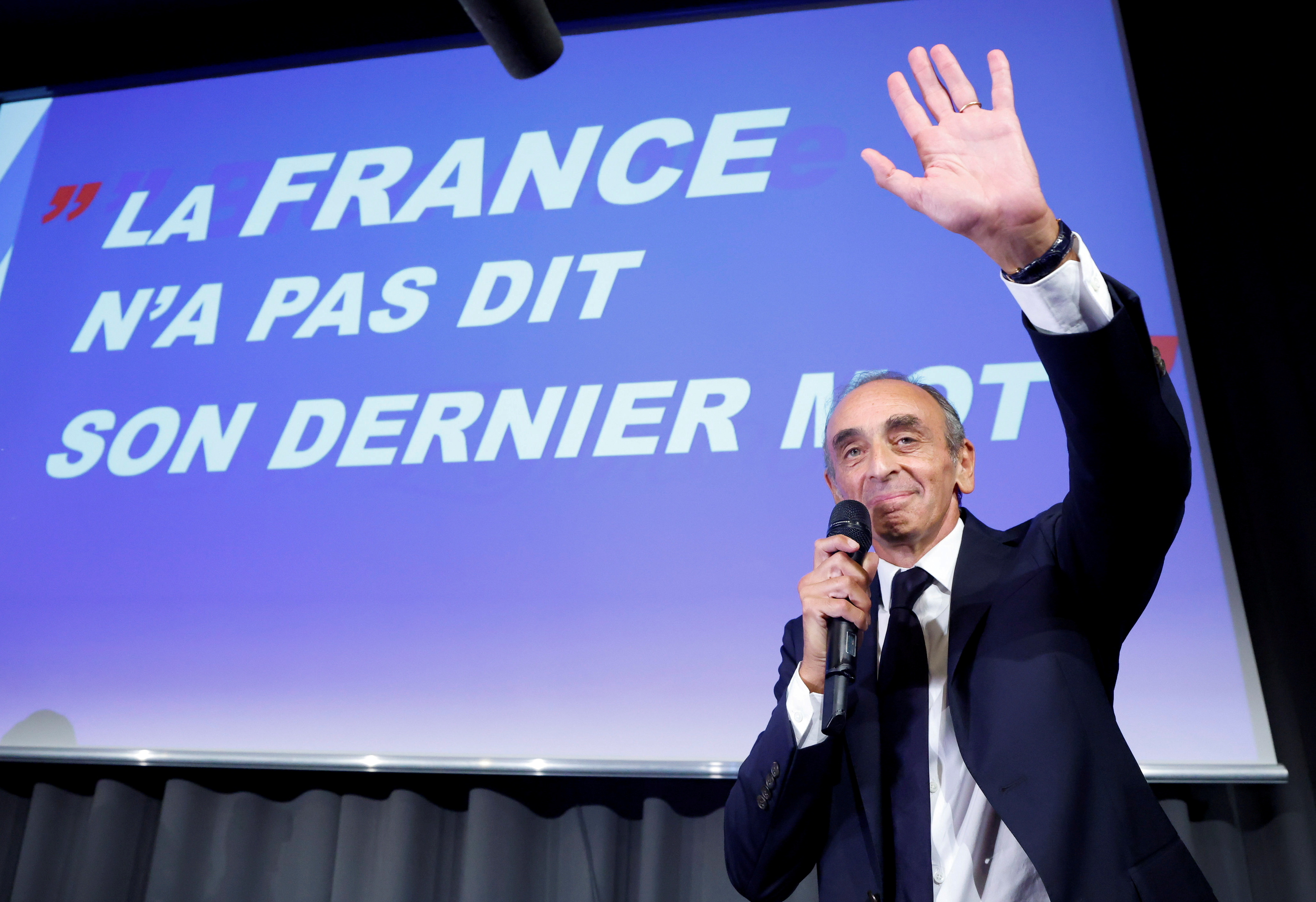 Far-right French commentator Eric Zemmour attends a meeting for the promotion of his new book