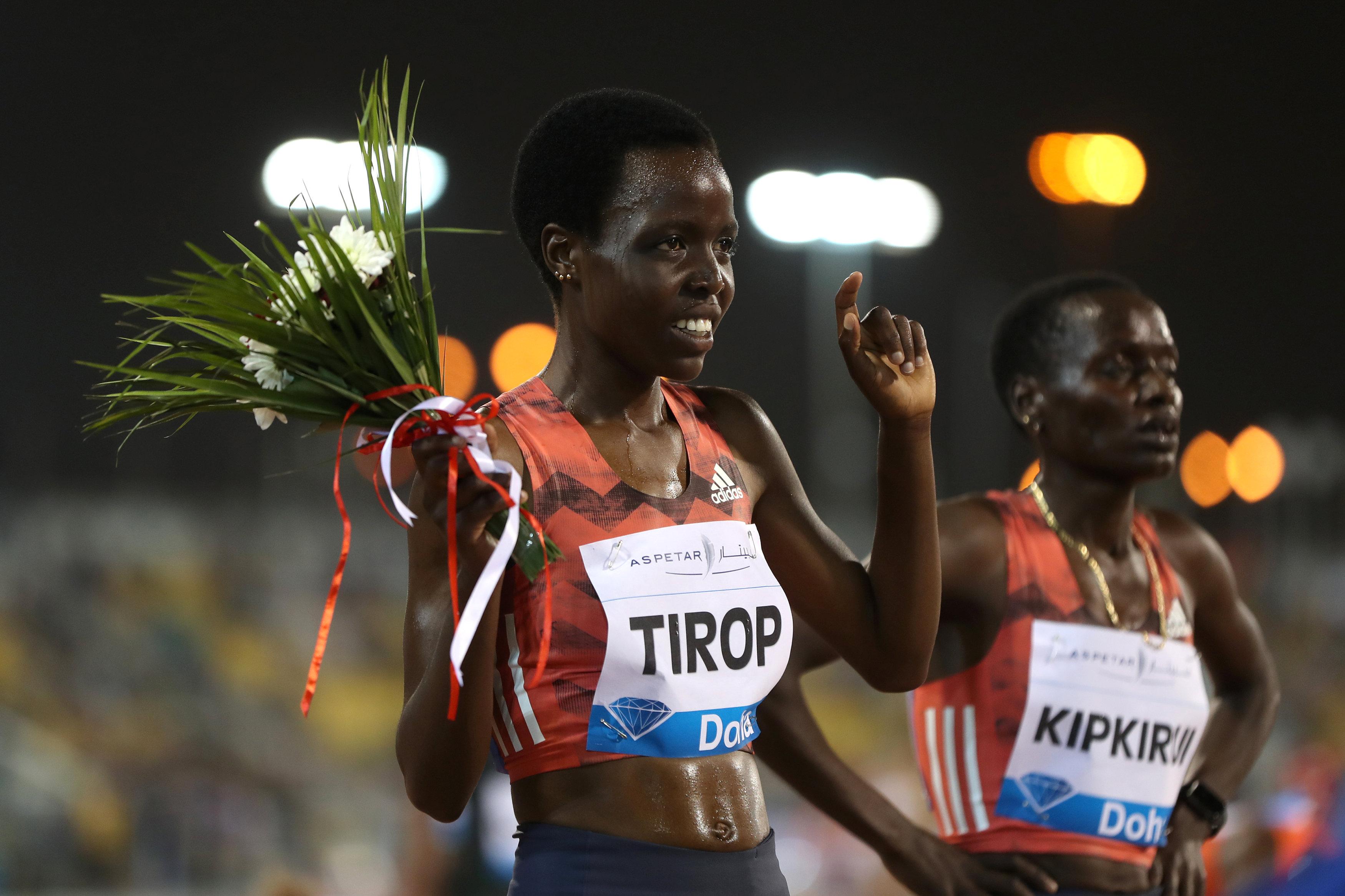 FILE PHOTO-Athletics - Diamond League - Doha - Qatar Sports Club, Doha, Qatar - May 4, 2018   Kenya's Agnes Jebet Tirop celebrates after finishing second in the women's 3000m   REUTERS/Ibraheem Al Omari