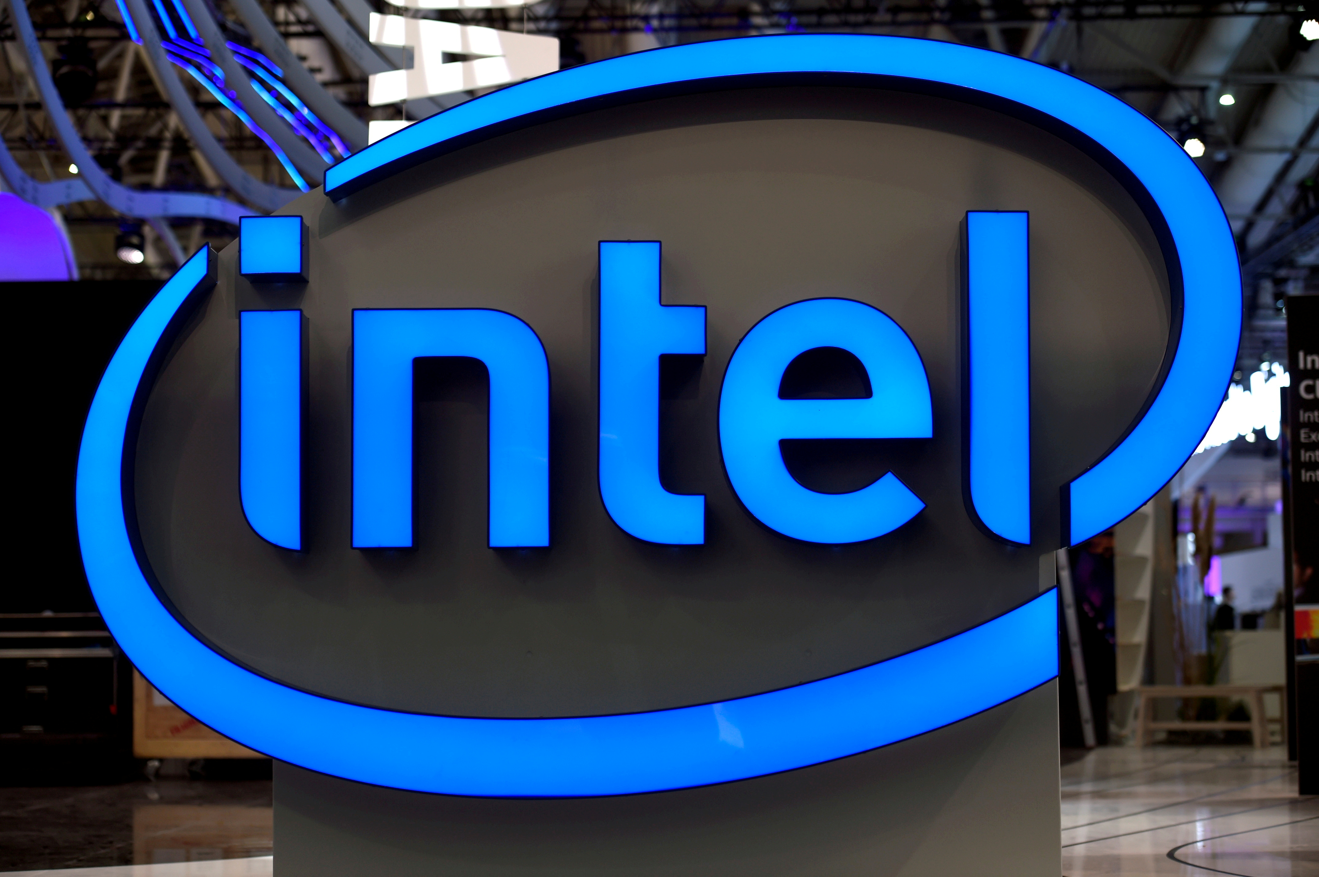Intel's logo is pictured during preparations at the CeBit computer fair, which will open its doors to the public on March 20, at the fairground in Hanover, Germany, March 19, 2017.  REUTERS/Fabian Bimmer/File Photo