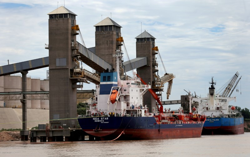 Grain is loaded onto ships for export at a port on the Parana river near Rosario, Argentina, January 31, 2017.  Picture taken January 31, 2017. REUTERS/Marcos Brindicci/