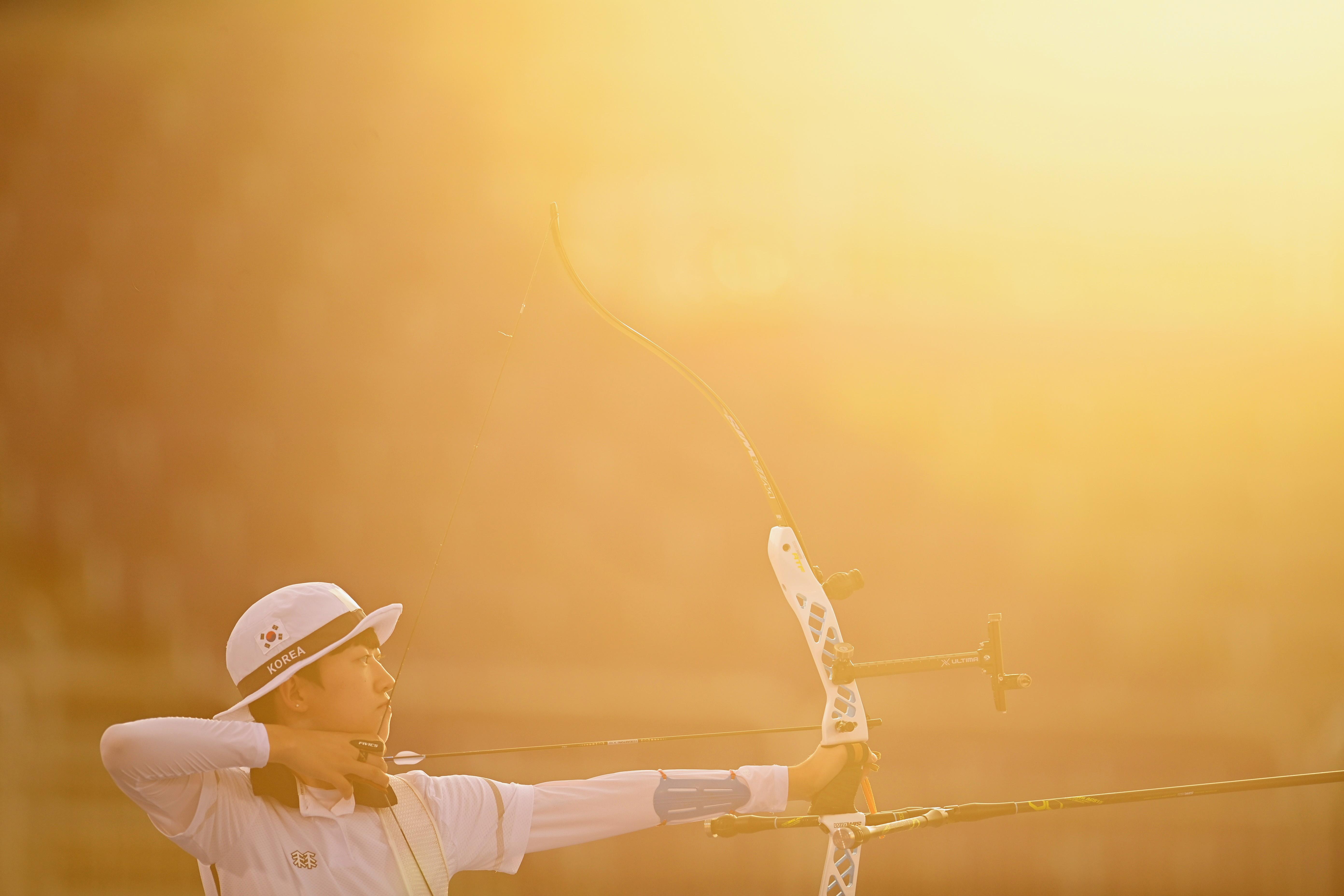 Tokyo 2020 Olympics - Archery - Women's Individual - 1/32 Finals - Yumenoshima Archery Field, Tokyo, Japan - July 29, 2021. An San of South Korea in action REUTERS/Clodagh Kilcoyne