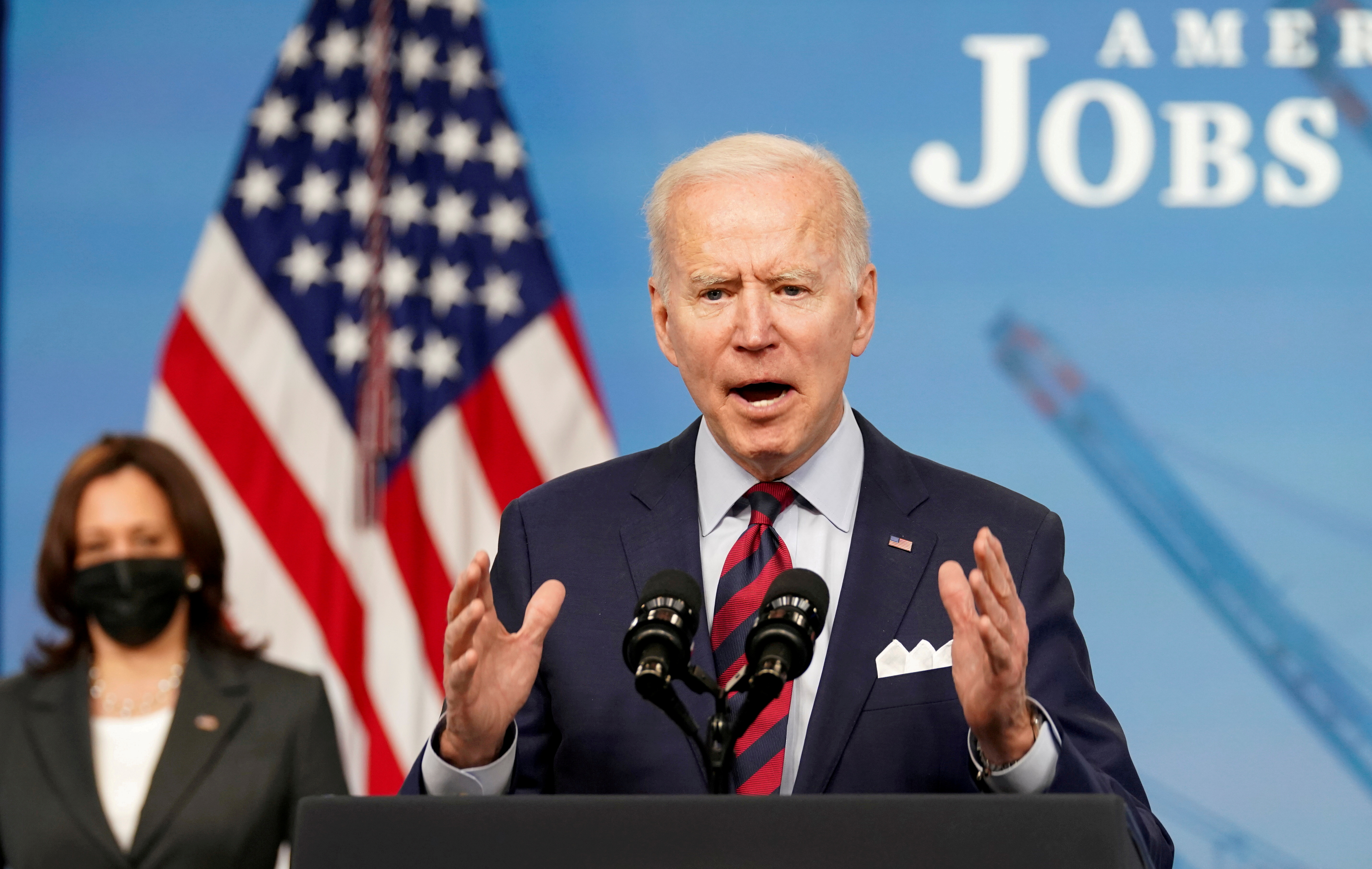 U.S. President Joe Biden speaks about jobs and the economy at the White House in Washington, U.S., April 7, 2021. REUTERS/Kevin Lamarque/File Photo
