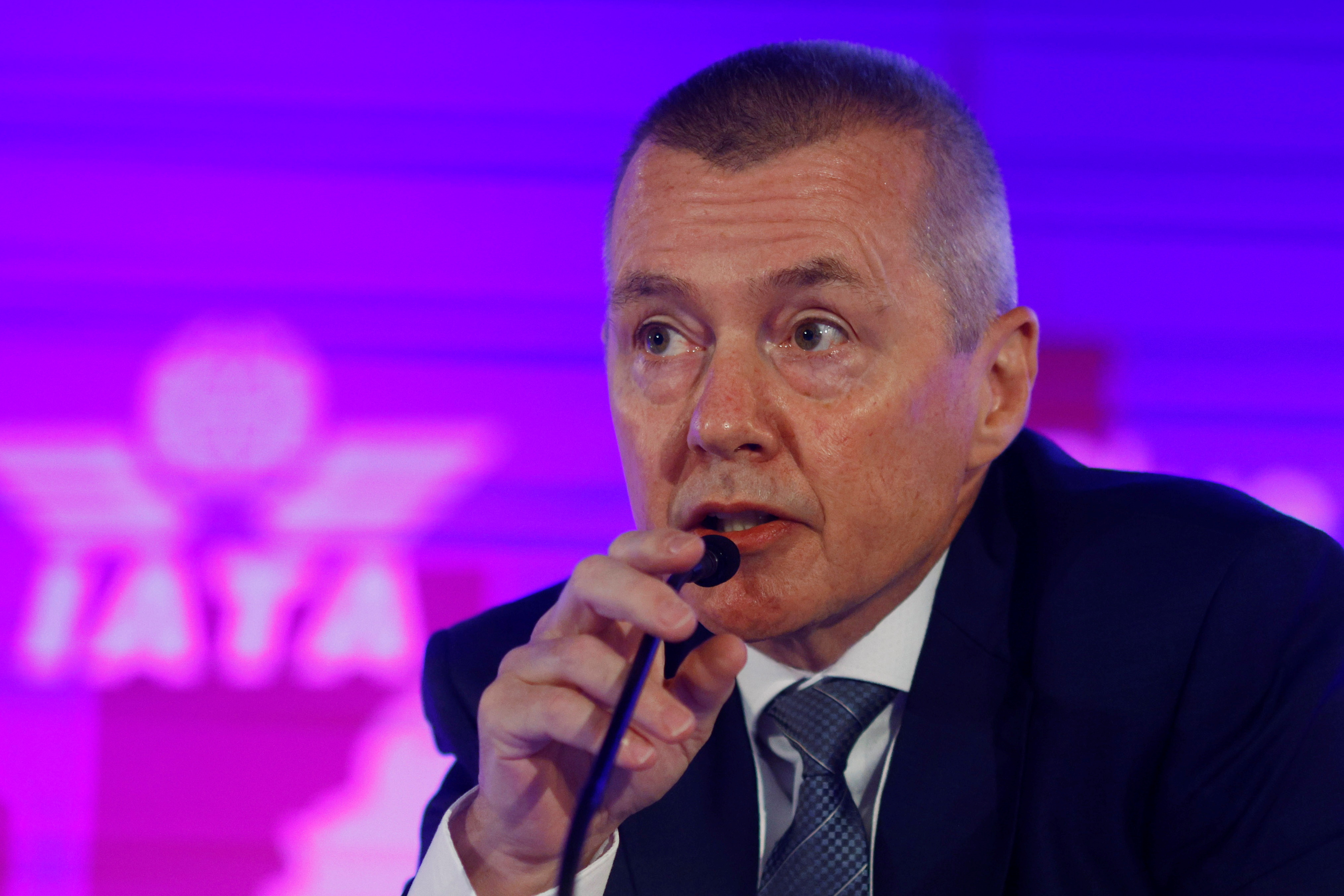 Willie Walsh, director general of the International Air Transport Association, speaks at the IATA's Annual General Meeting in Boston, Massachusetts, U.S., October 4, 2021.   REUTERS/Brian Snyder