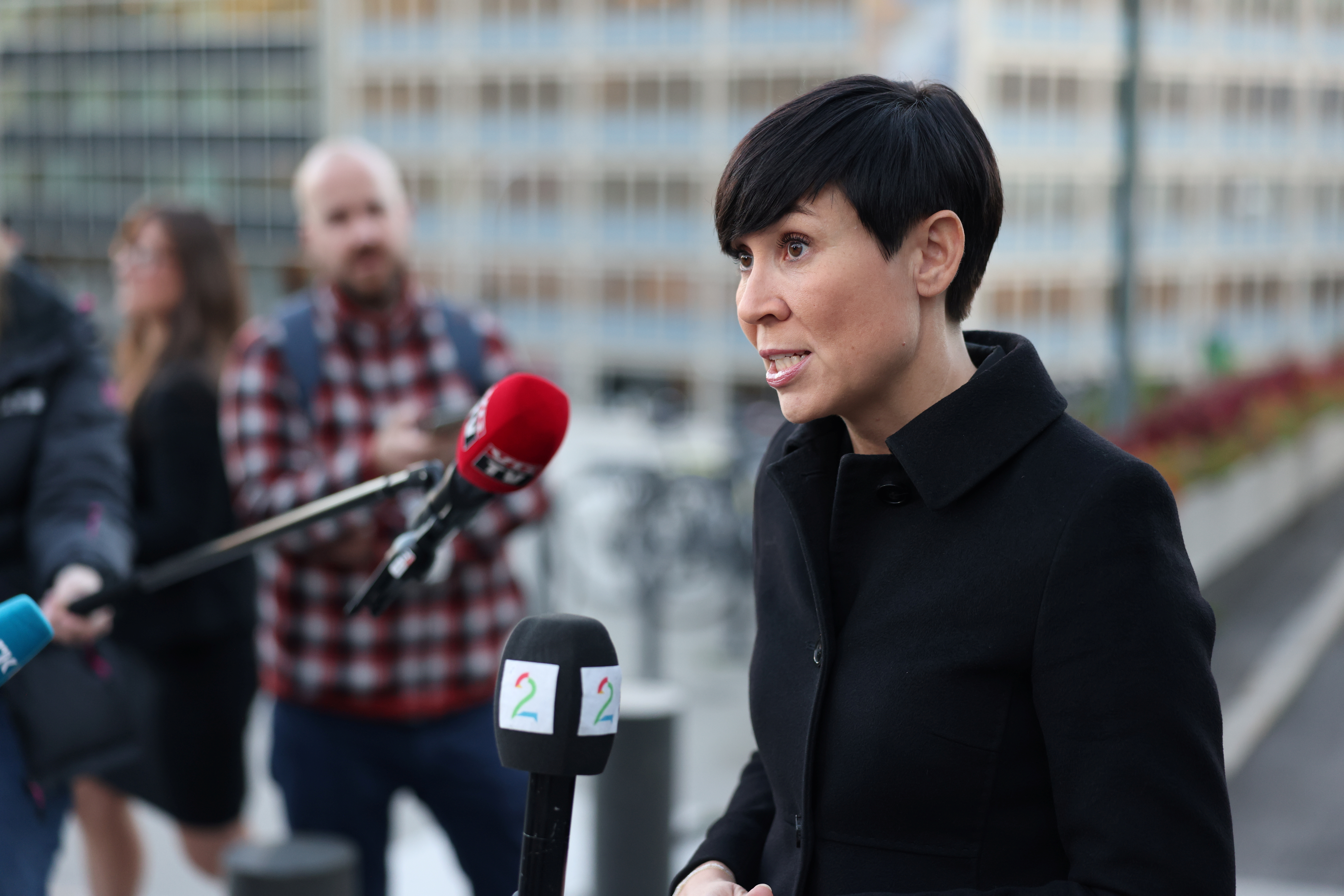 Norway's Foreign Minister Ine Marie Eriksen Soreide talks to the media outside the Ministry of Foreign Affairs due the Norwegian government believing that Russia is behind a cyber attack on the Norwegian Parliament, in Oslo, Norway October 13, 2020.  Orn E. Borgen/NTB/via REUTERS