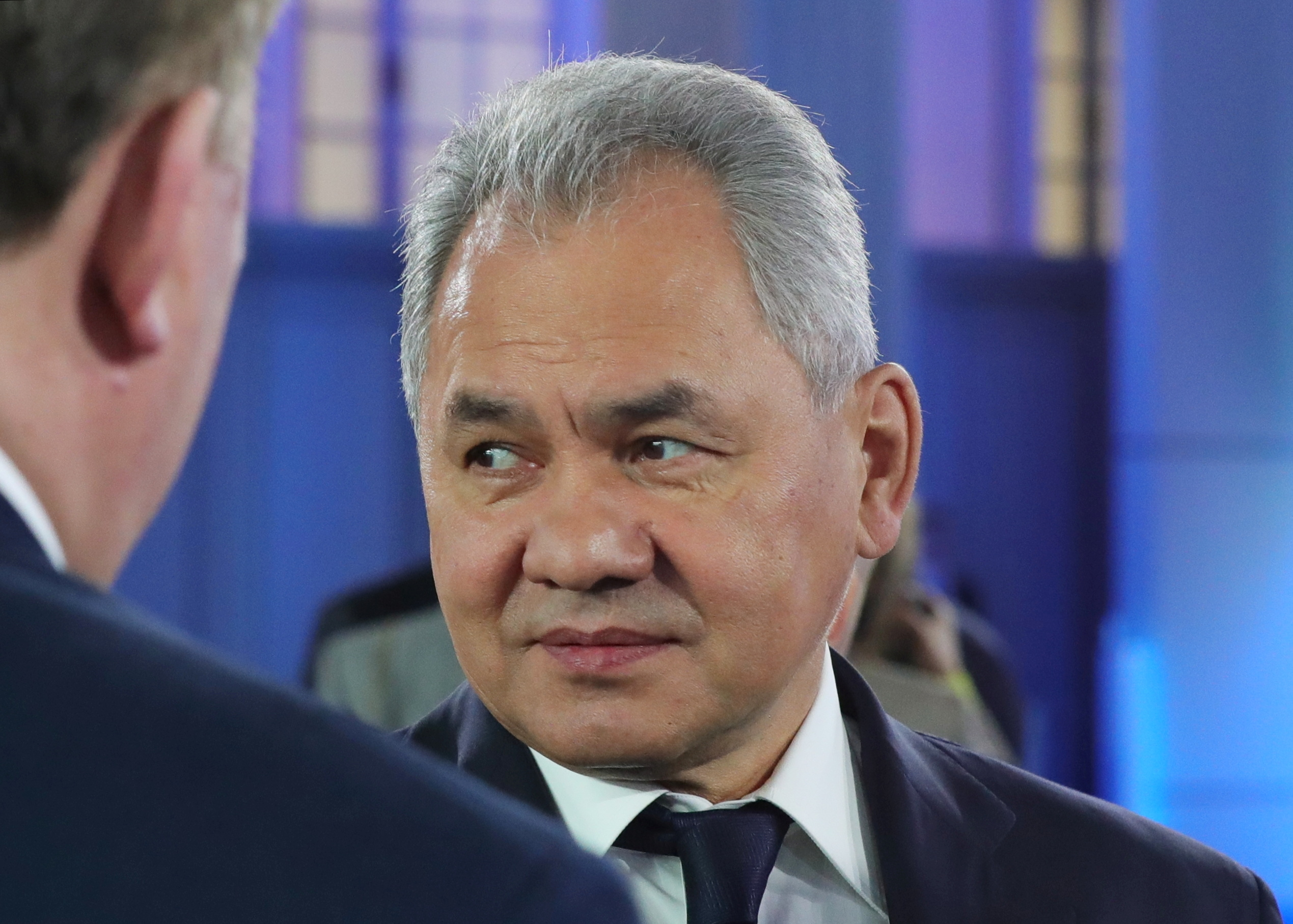 Russian Defence Minister Sergei Shoigu attends Russian President Vladimir Putin's annual address to the Federal Assembly in Moscow, Russia April 21, 2021. Sputnik/Mikhail Klimentyev/Kremlin via REUTERS