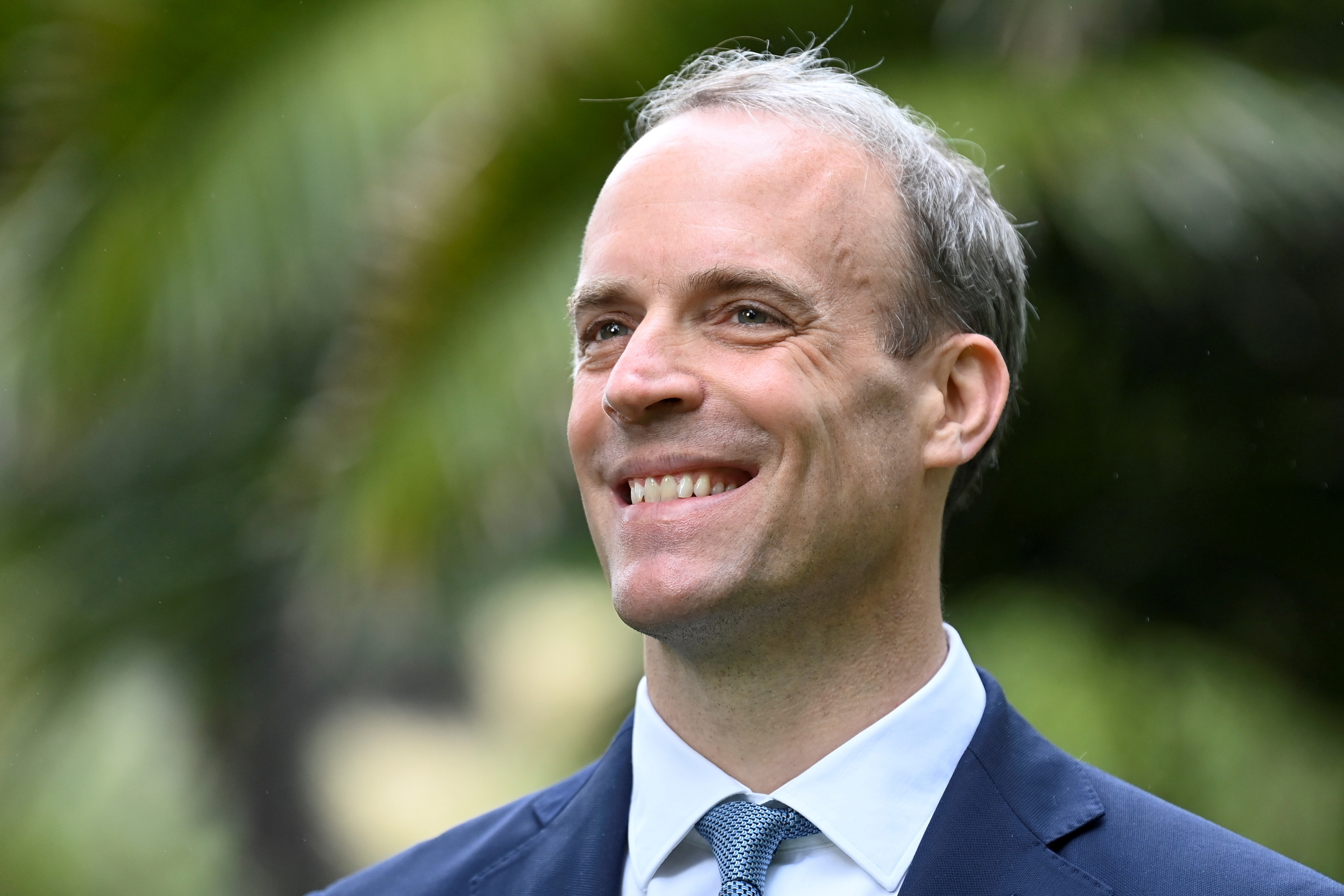 Britain's Foreign Secretary Dominic Raab is seen on the sidelines of G7 summit in Carbis Bay, Cornwall, Britain, June 11, 2021. REUTERS/Toby Melville/File Photo