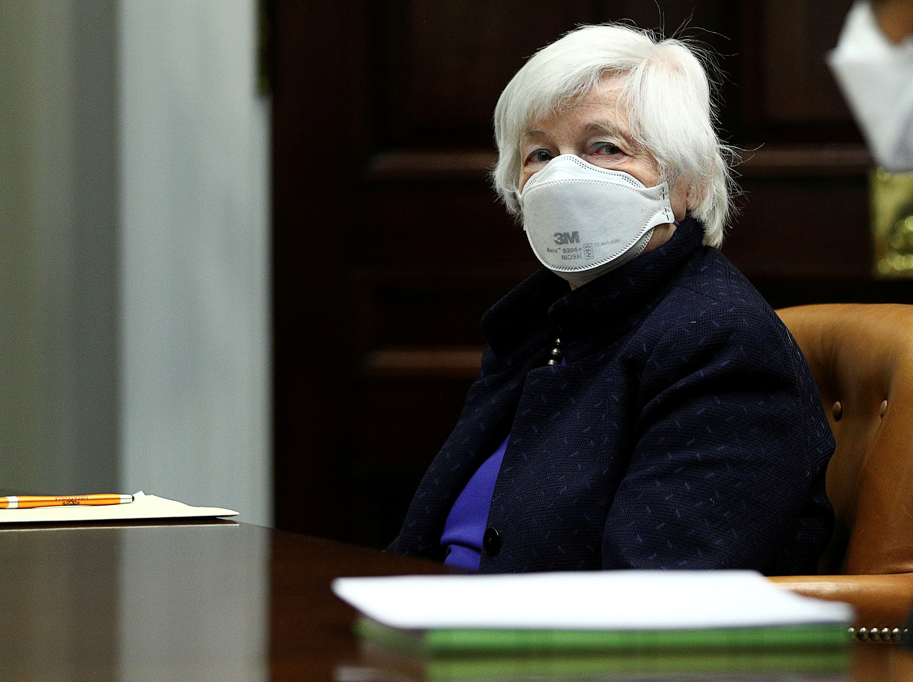U.S. Treasury Secretary Janet Yellen attends an economic briefing with U.S. President Joe Biden in the Roosevelt Room at the White House in Washington, U.S., March 5, 2021. REUTERS/Tom Brenner/File Photo