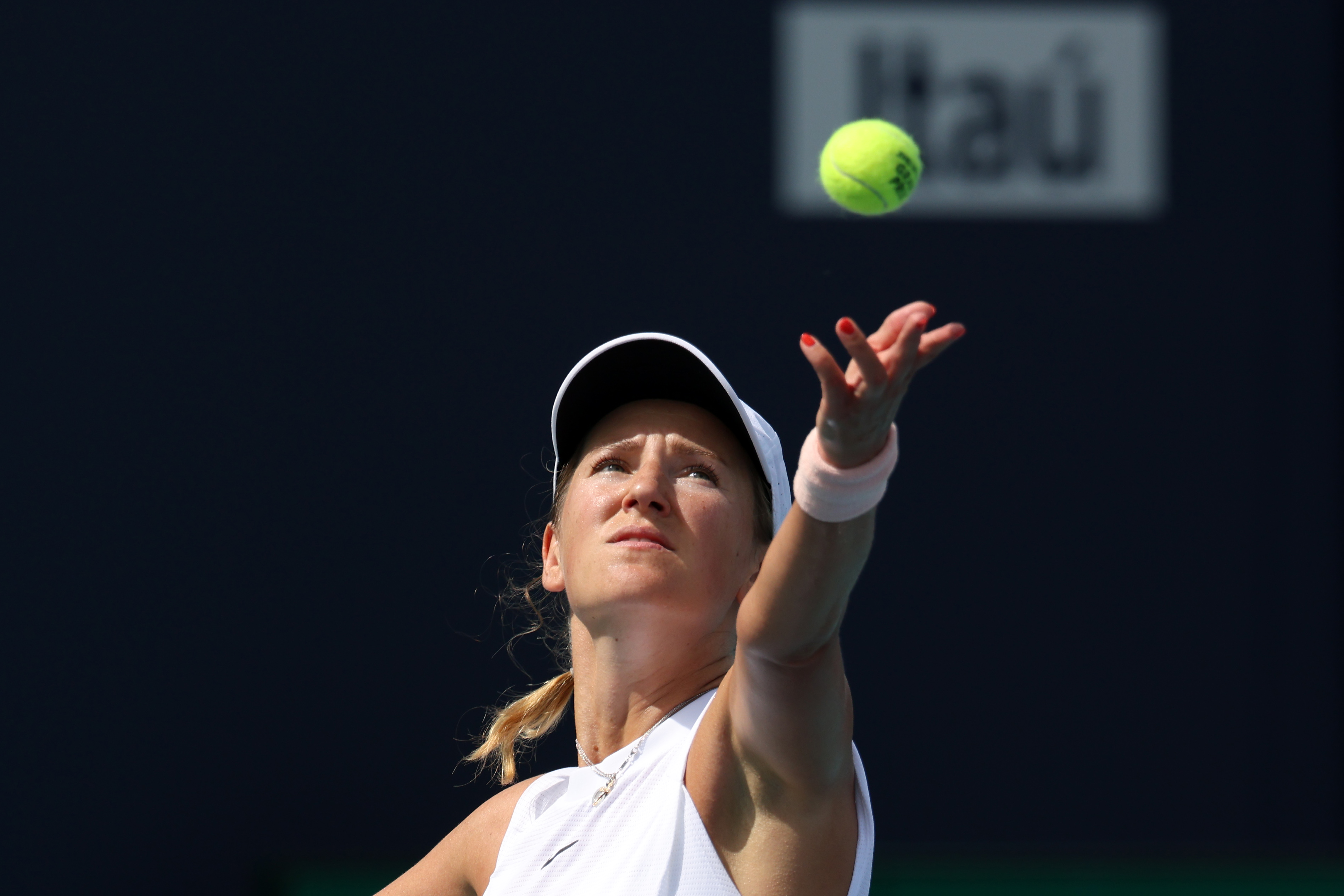 Mar 29, 2021; Miami, Florida, USA; Victoria Azarenka of Belarus serves against Ashleigh Barty of Australia (not pictured) in the fourth round in the Miami Open at Hard Rock Stadium. Mandatory Credit: Geoff Burke-USA TODAY Sports