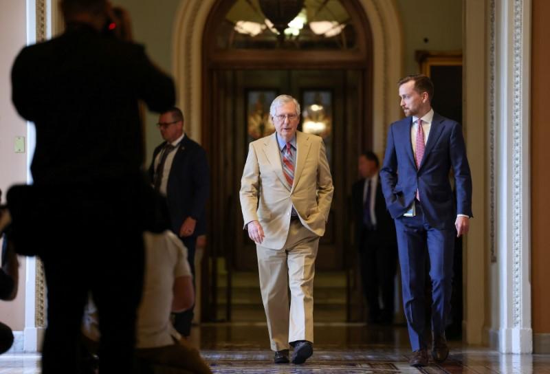 U.S. Senate Minority Leader Mitch McConnell (R-KY) leaves the Senate floor on Capitol Hill in Washington, U.S., June 14, 2021. REUTERS/Evelyn Hockstein