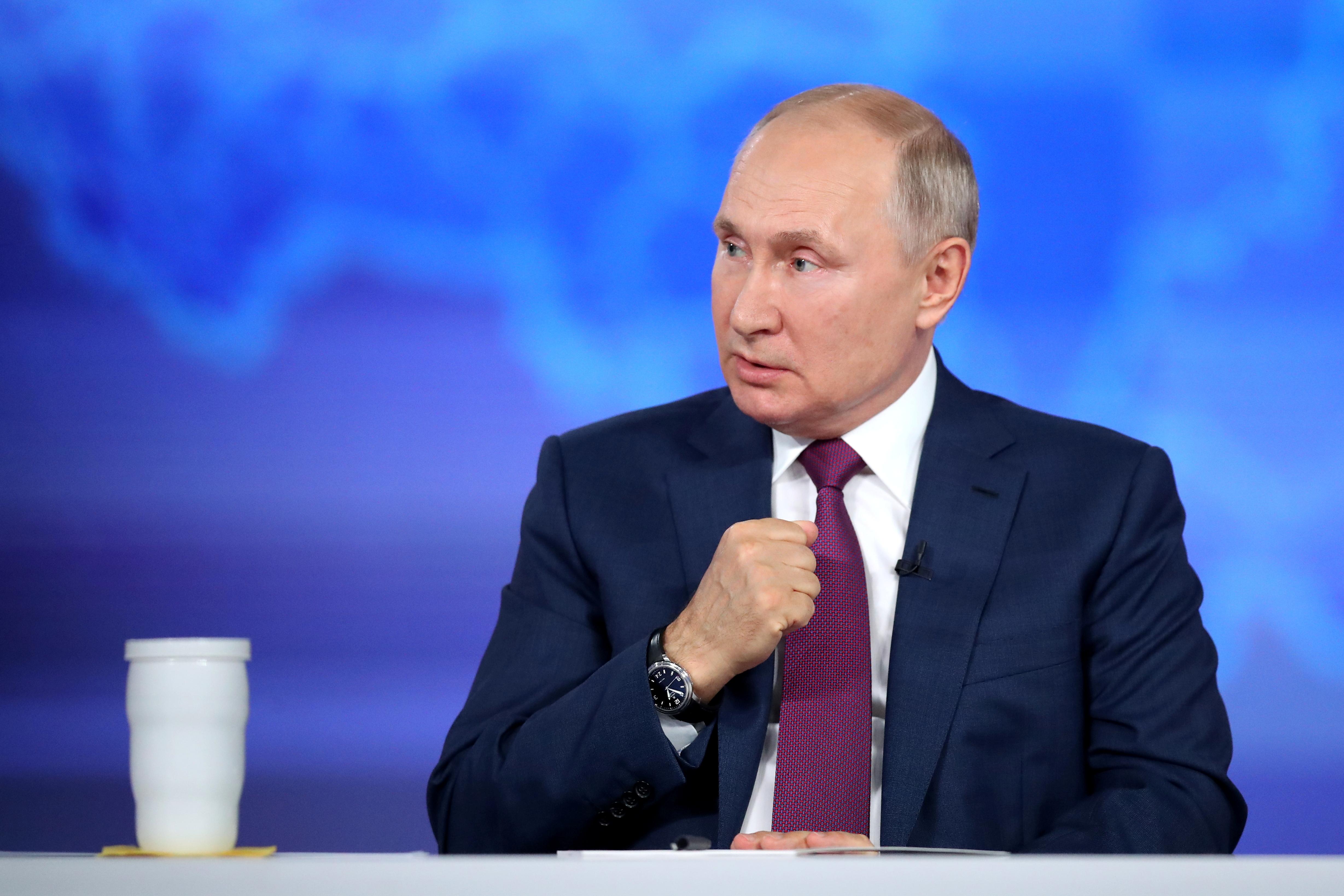 Russian President Vladimir Putin speaks during an annual nationwide televised phone-in show in Moscow, Russia June 30, 2021. Sputnik/Sergei Savostyanov/Pool via REUTERS