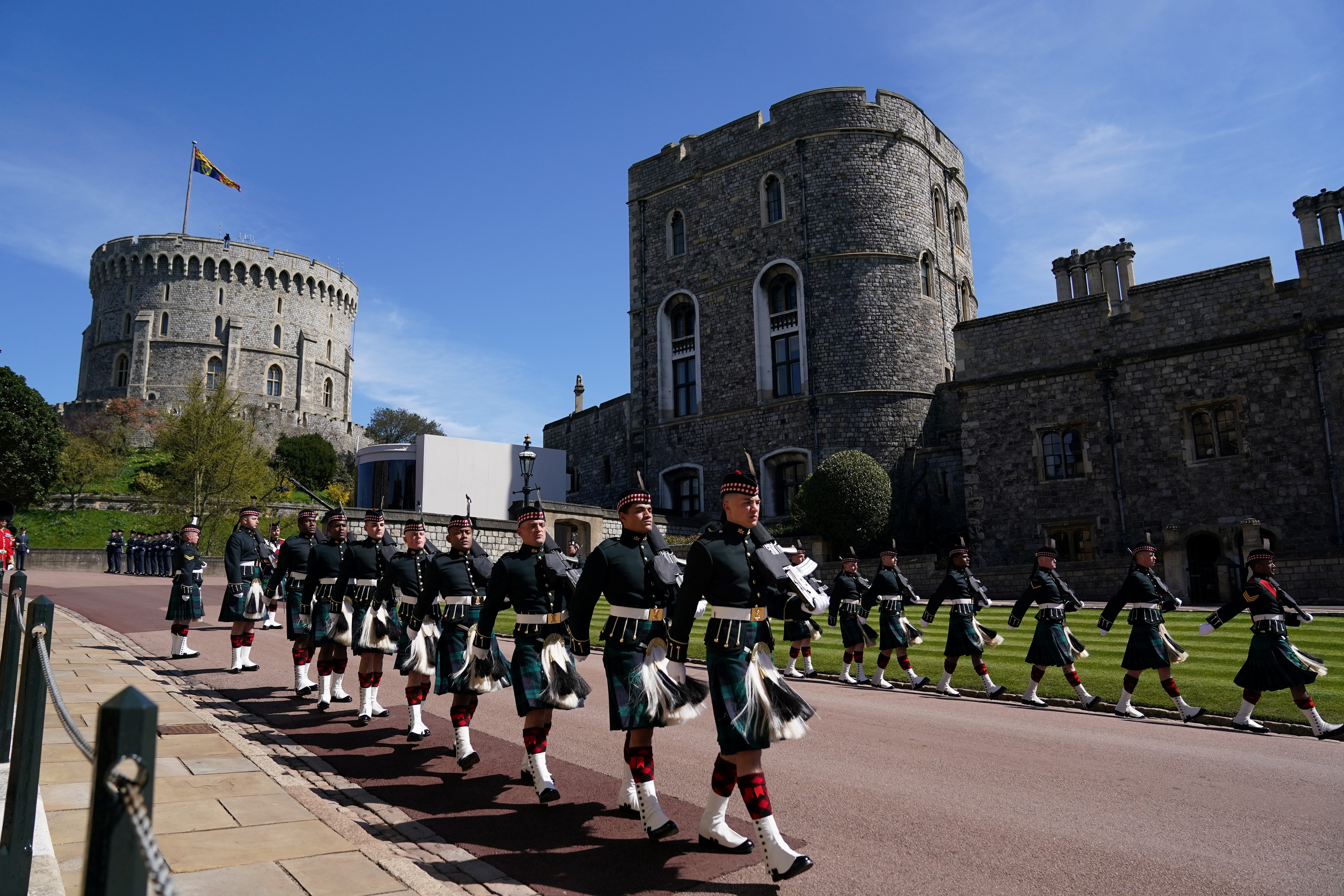 Members of the military arrive for the funeral of Britain's Prince Philip in Windsor Castle, Britain April 17, 2021. Victoria Jones/Pool via REUTERS