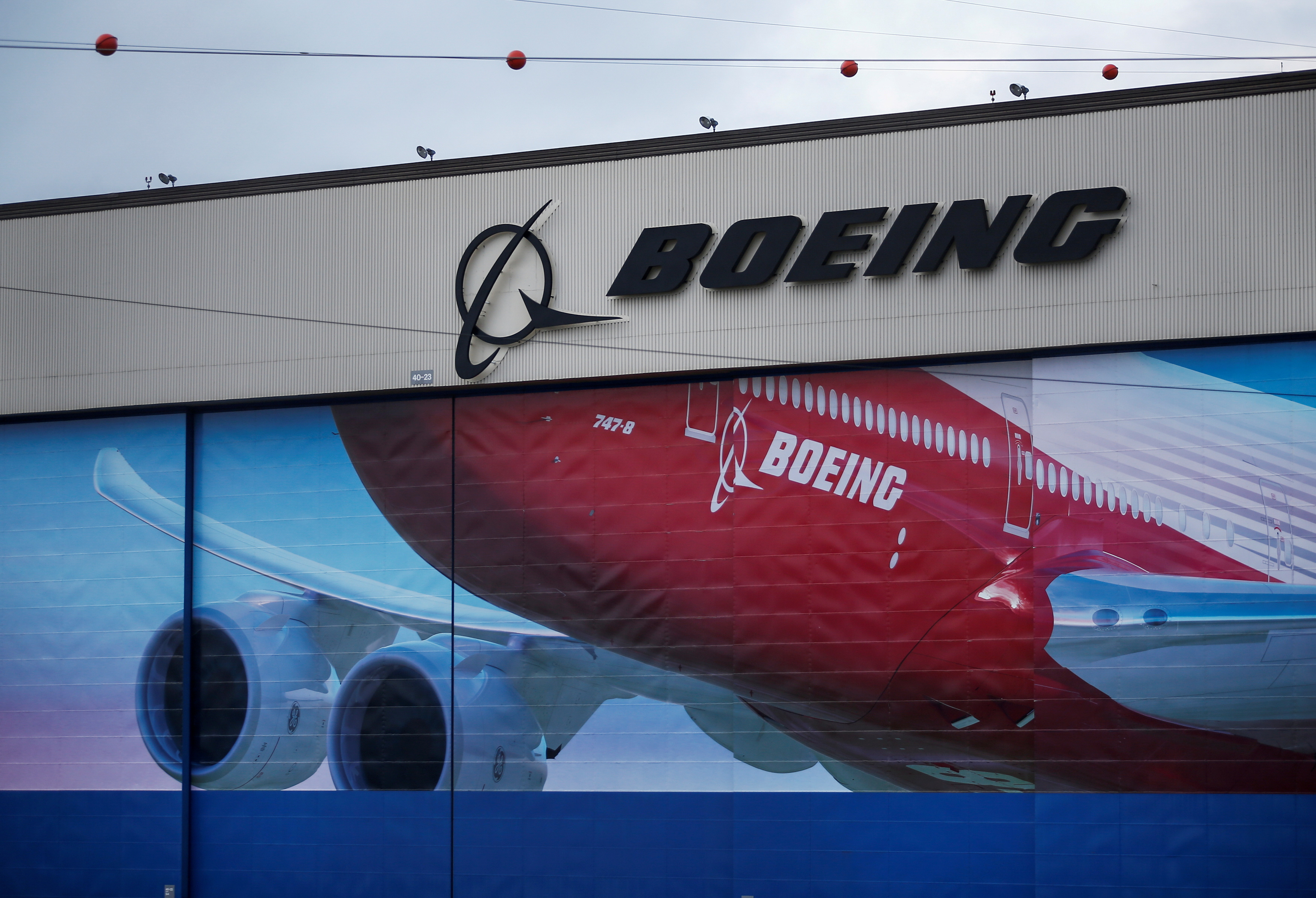 A Boeing logo is seen at the company's facility in Everett, Washington, U.S., Jan. 21, 2020. REUTERS/Lindsey Wasson