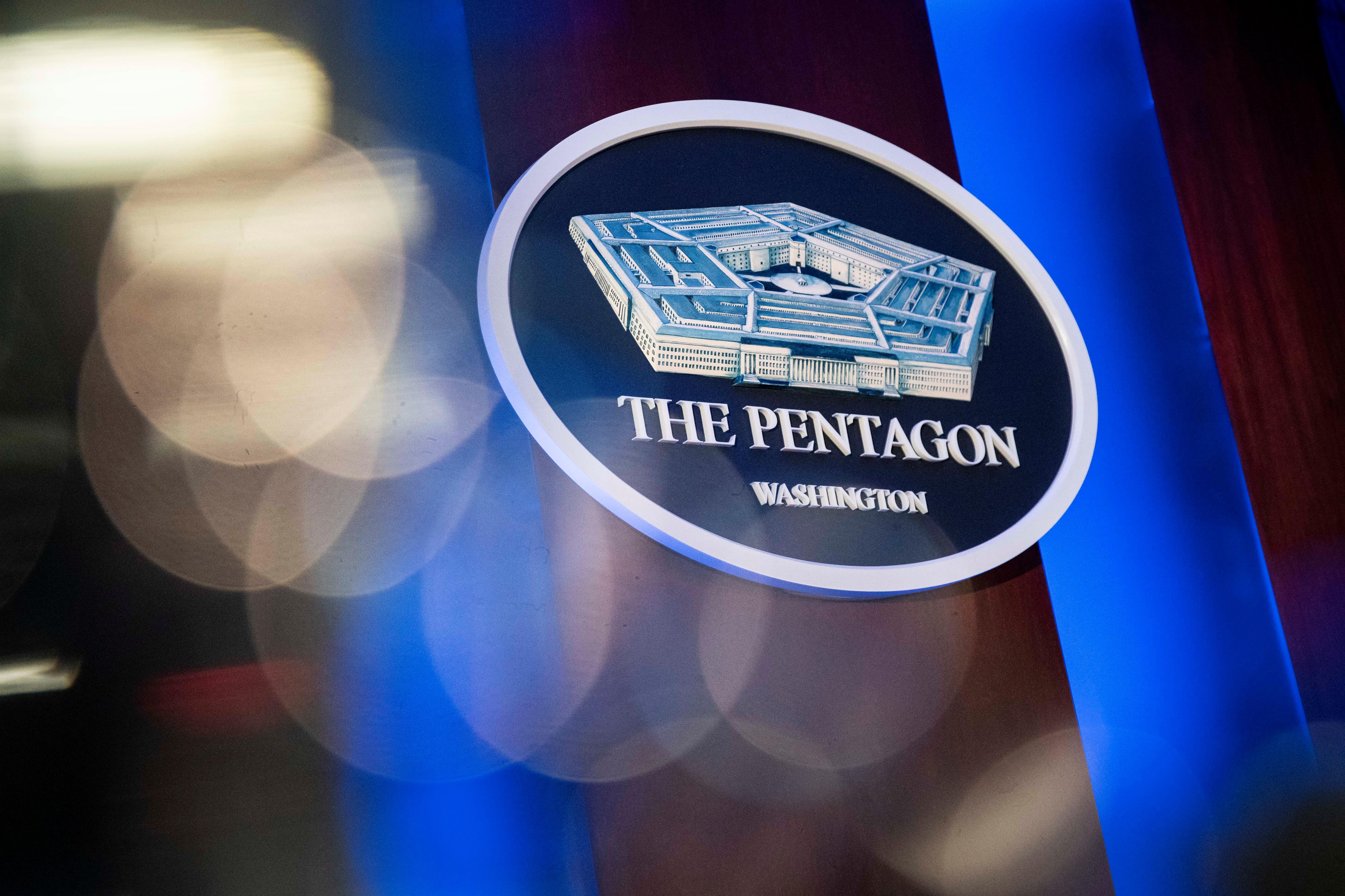 The Pentagon logo is seen behind the podium in the briefing room at the Pentagon in Arlington, Virginia, U.S., January 8, 2020. REUTERS/Al Drago