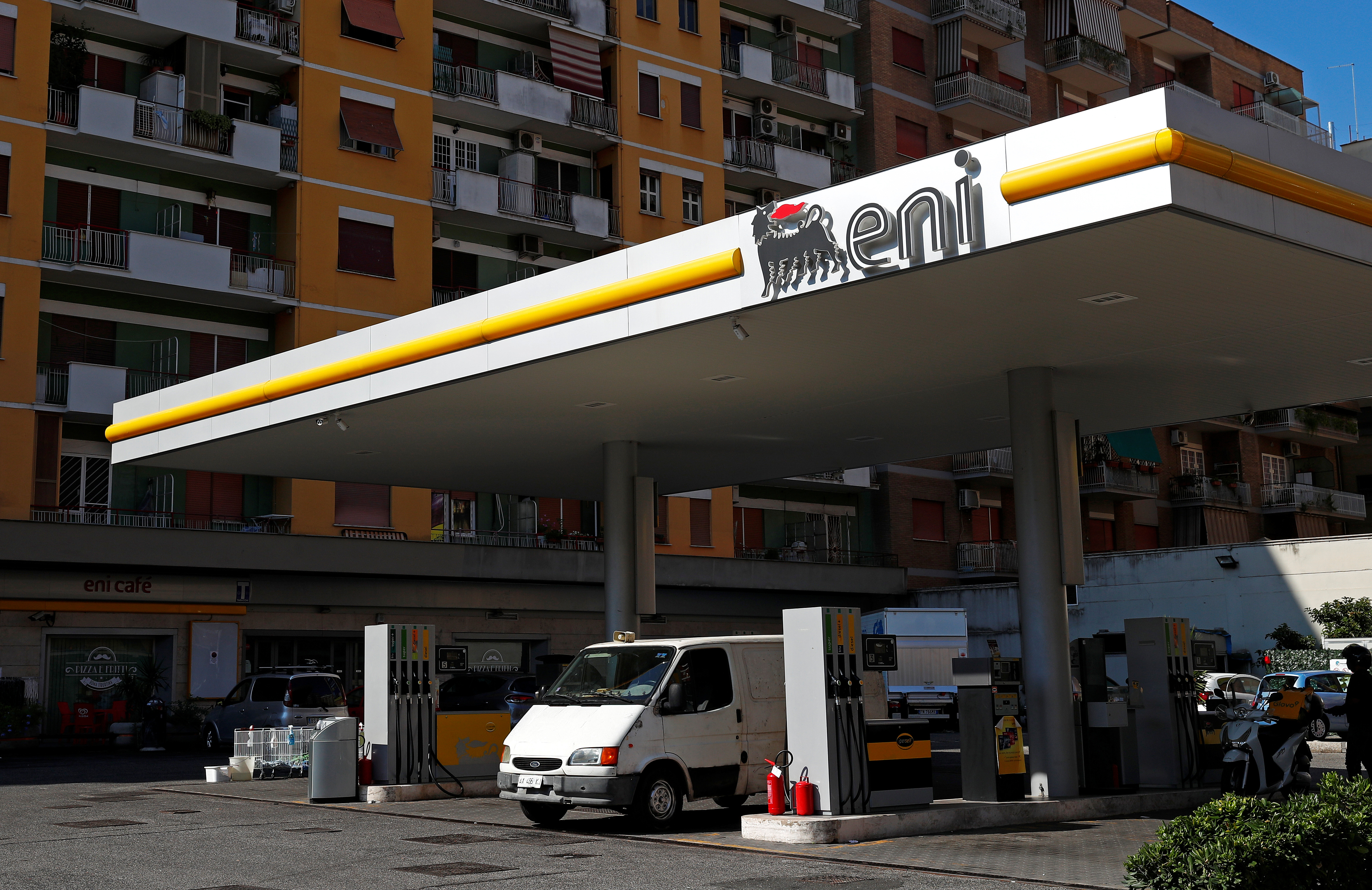 The logo of Italian energy company Eni is seen at a gas station in Rome, Italy August 16, 2018.  REUTERS/Max Rossi/File Photo