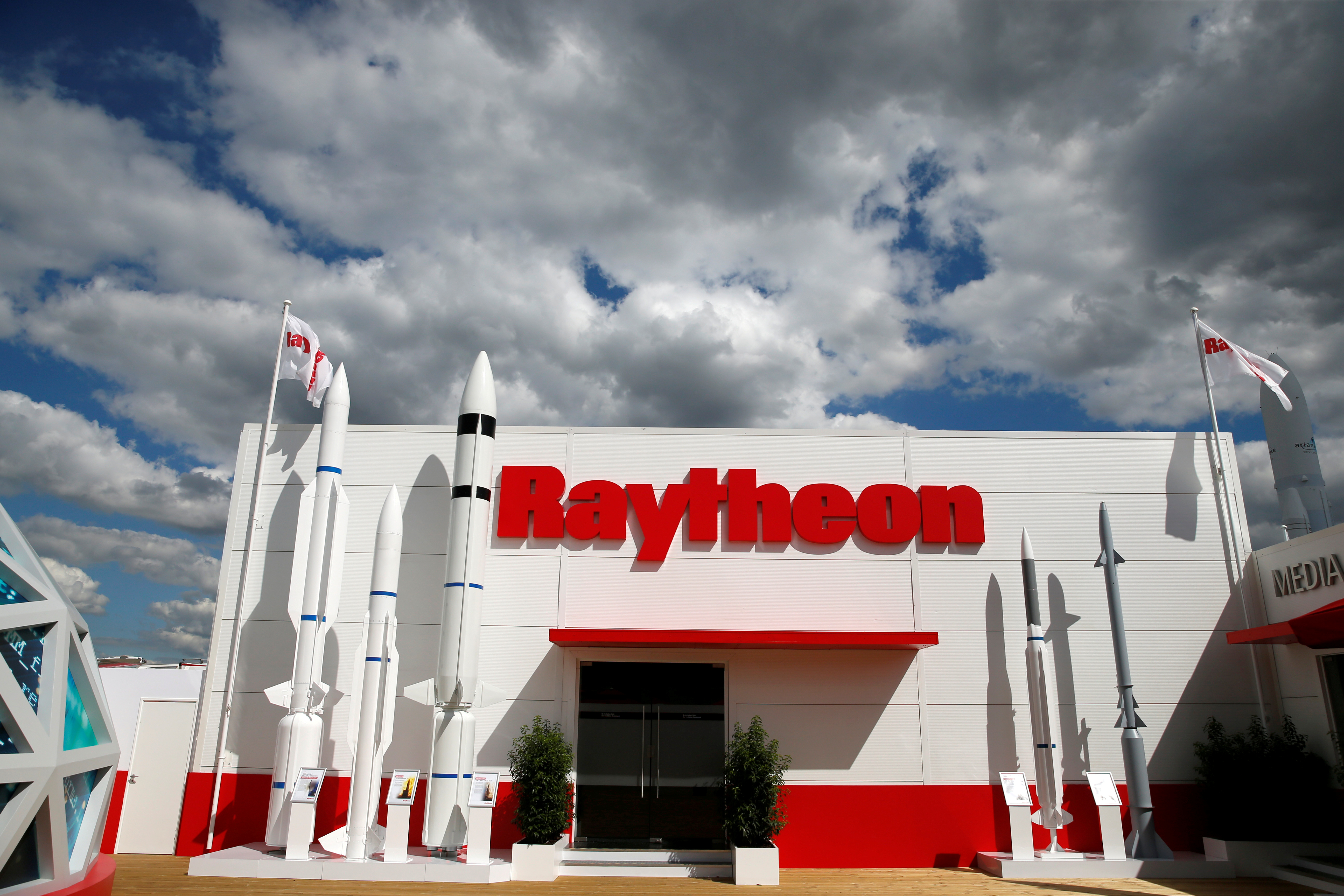 The Raytheon stand is seen at the 53rd International Paris Air Show at Le Bourget Airport near Paris, France June 21, 2019. REUTERS/Pascal Rossignol/File Photo