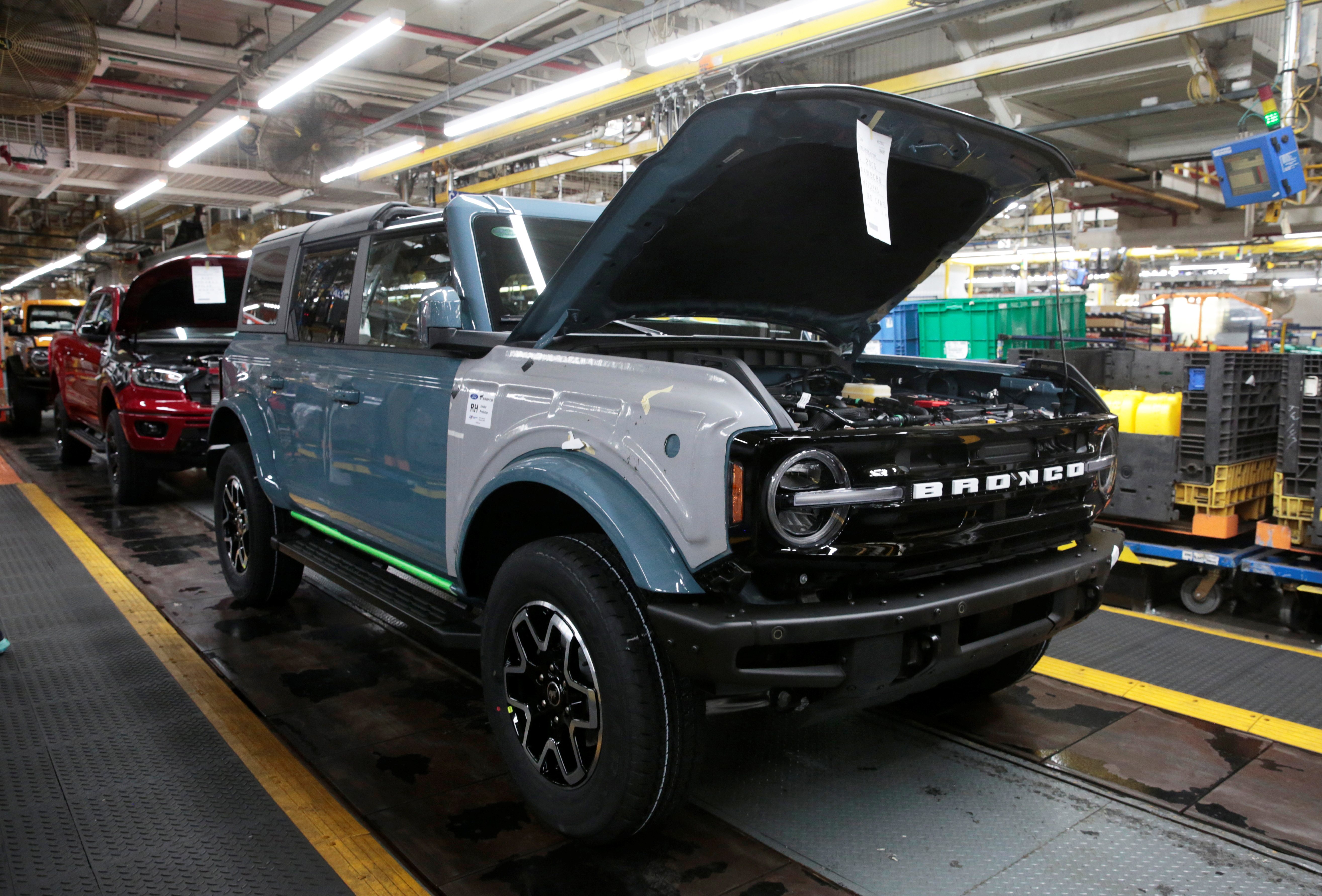 The Ford 2021 Bronco SUV is seen on the assembly line at Michigan Assembly Plant in Wayne, Michigan, U.S., June 14, 2021. REUTERS/Rebecca Cook