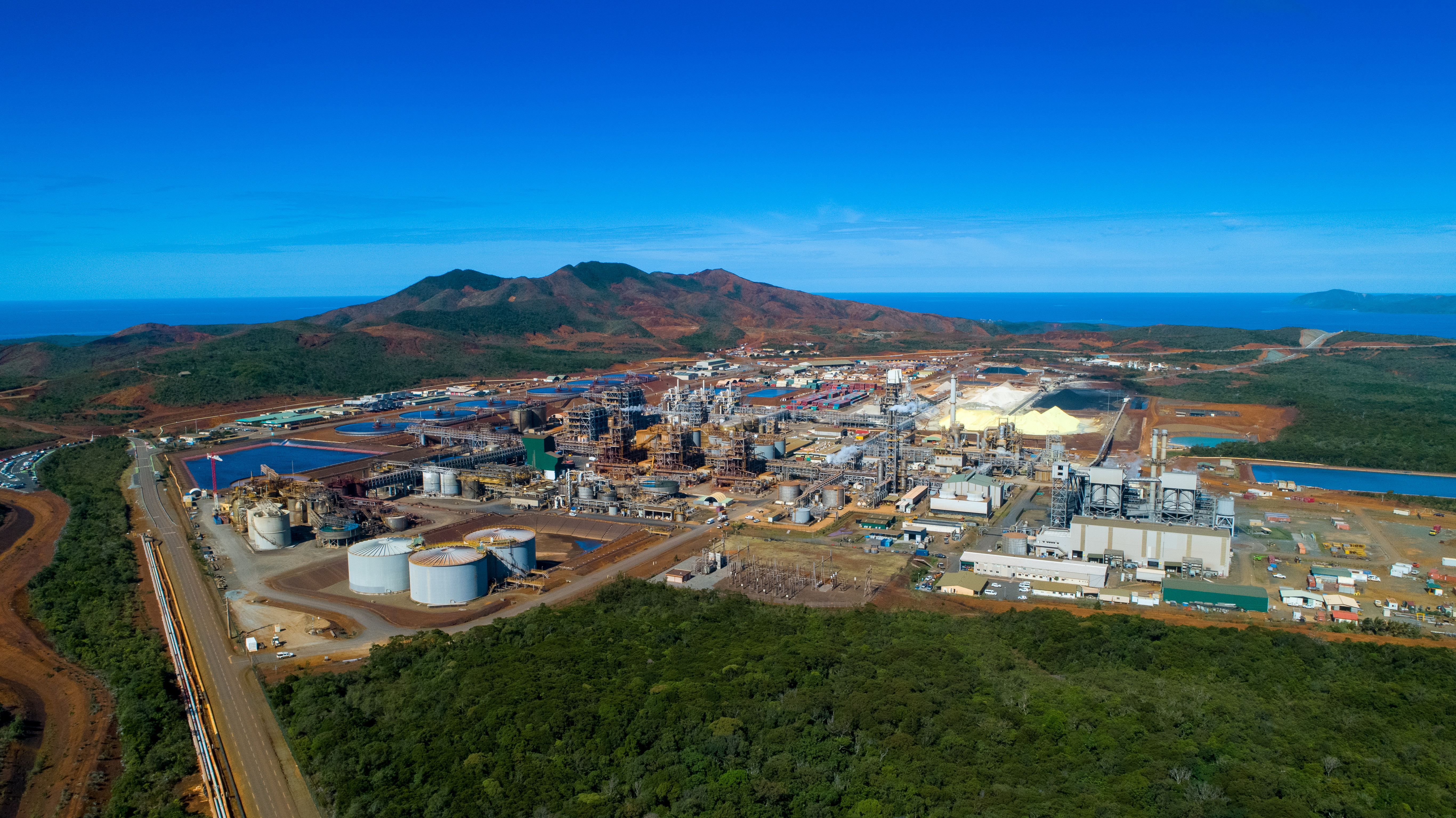 A general view of Prony Resources' hydrometallurgical plant in New Caledonia, which processes nickel ore to supply to the electric vehicle market, is seen in this 2020 handout photo released to Reuters on October 13, 2021. Radikal Pictures 2020/Handout via REUTERS