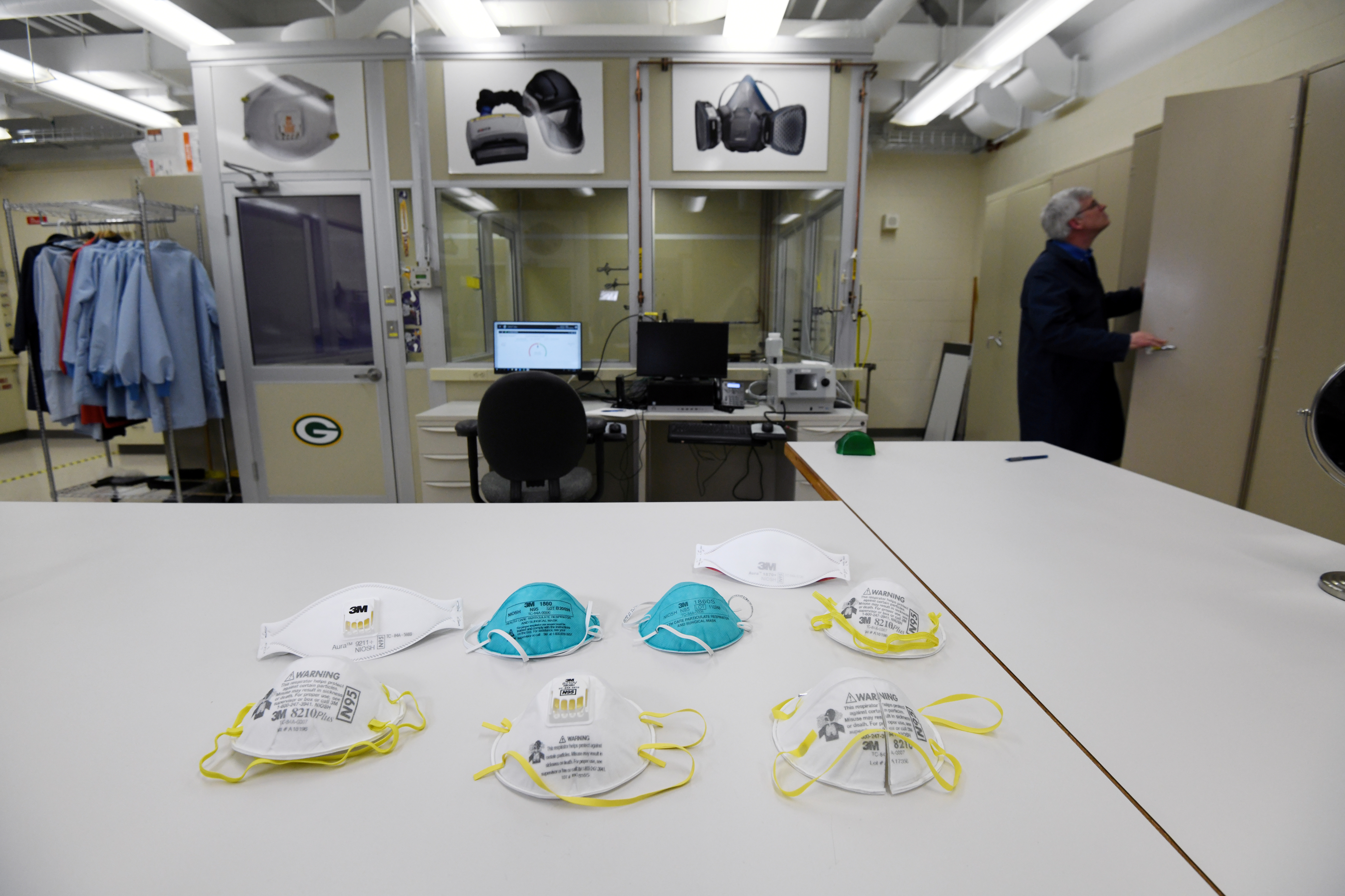 Various N95 masks at a laboratory of 3M, that has been contracted by the U.S. government to produce extra masks in response to the country's novel coronavirus outbreak, in Maplewood, Minnesota, U.S. March 4, 2020. Picture taken March 4, 2020. REUTERS/Nicholas Pfosi/File Photo