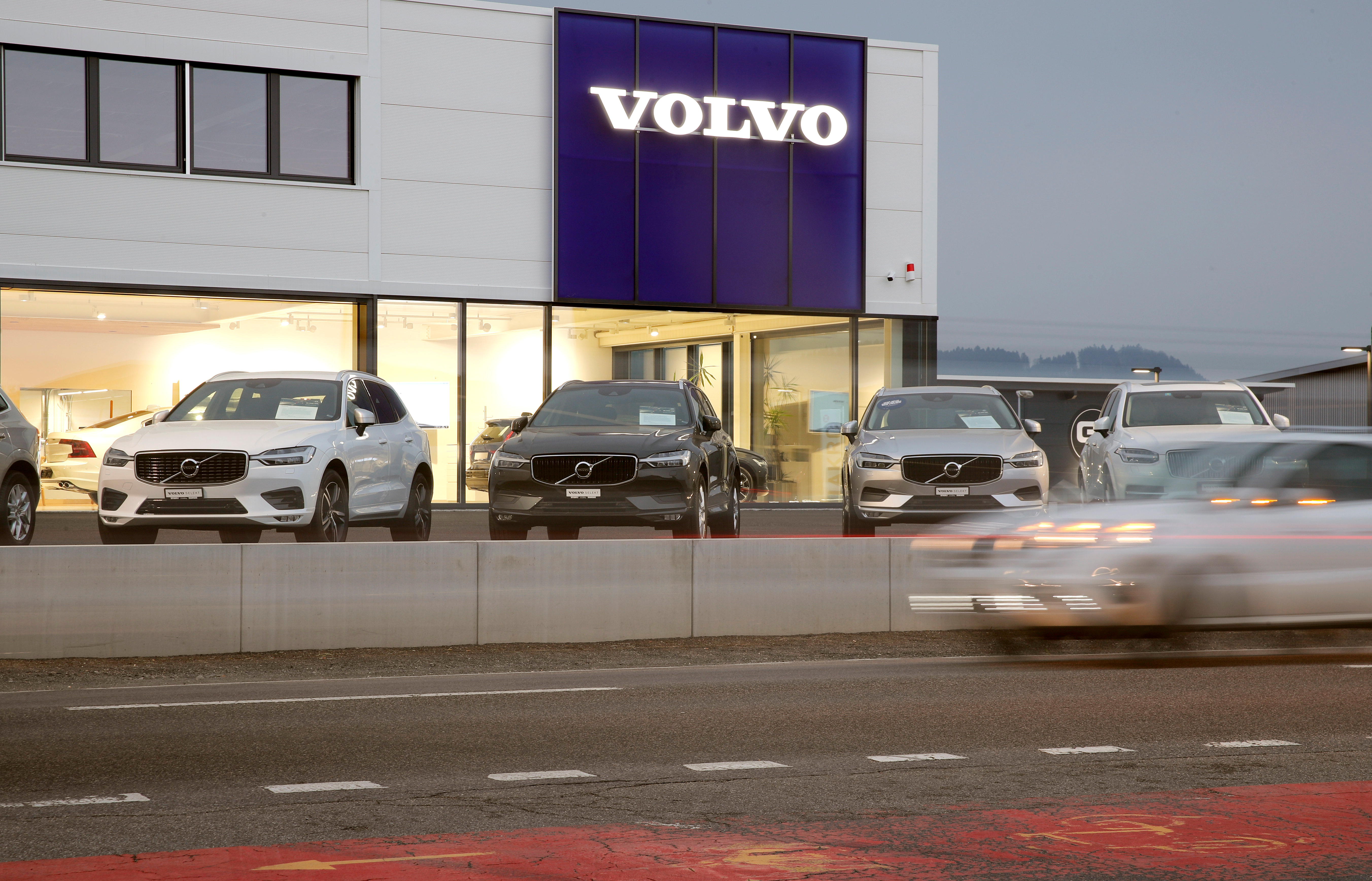 Volvo cars are seen in St. Erhard, Switzerland, April 11, 2019. REUTERS/Arnd Wiegmann