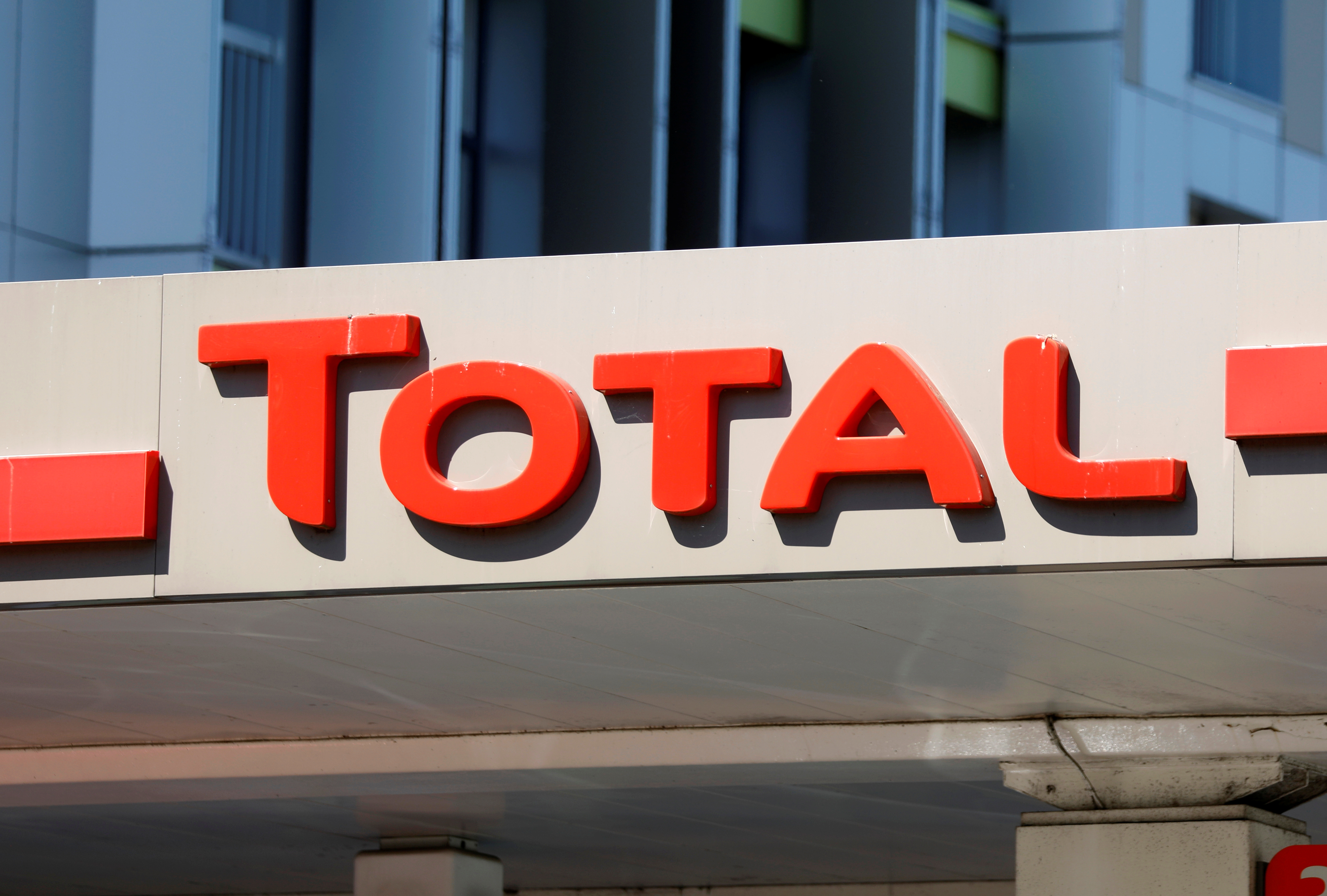 The logo of French energy group Total is seen on a gas station in Montreuil, France, May 18, 2020. REUTERS/Charles Platiau