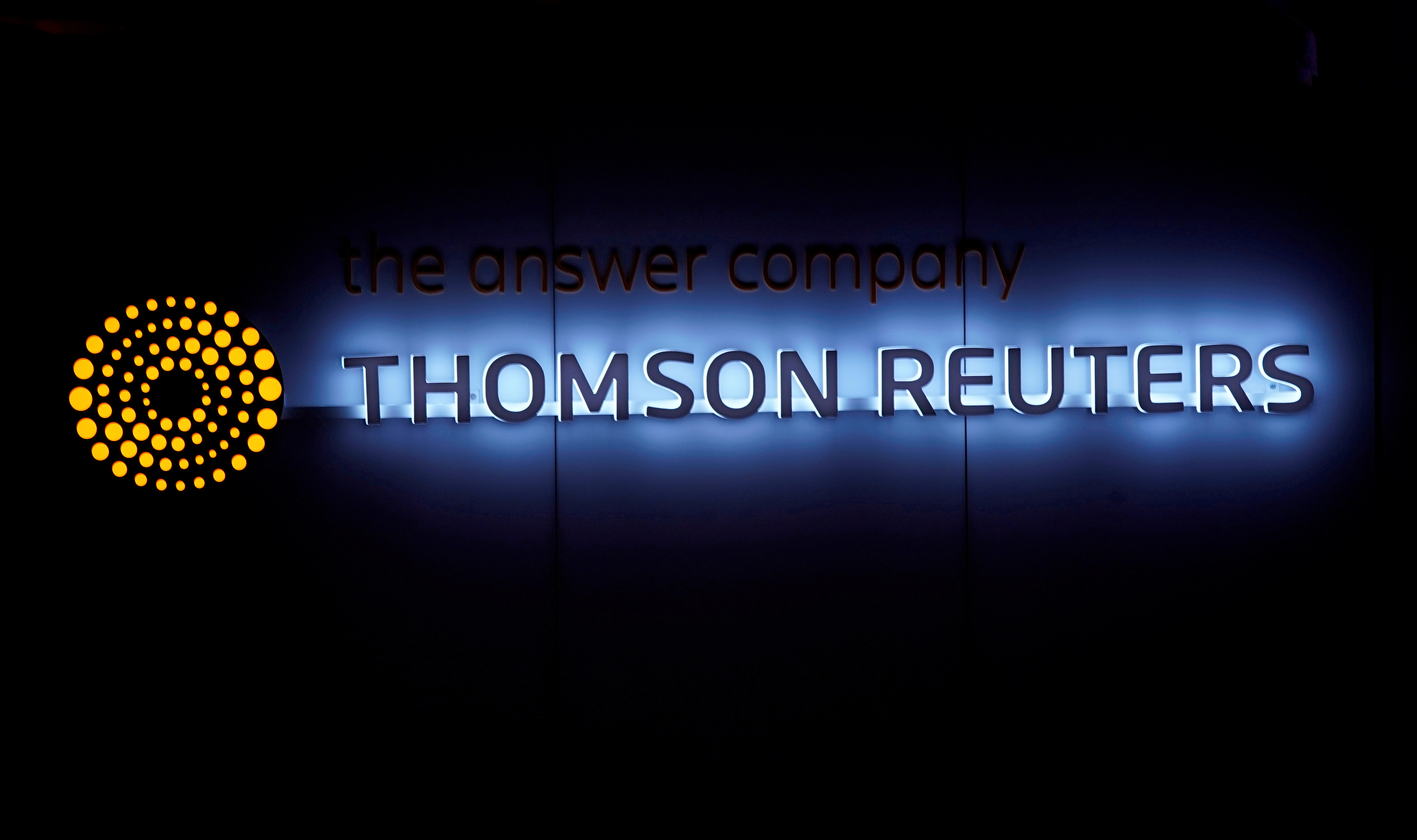 A Thomson Reuters logo is pictured on a building during the World Economic Forum (WEF) annual meeting in Davos, Switzerland January 25, 2018.  REUTERS/Denis Balibouse/File Photo