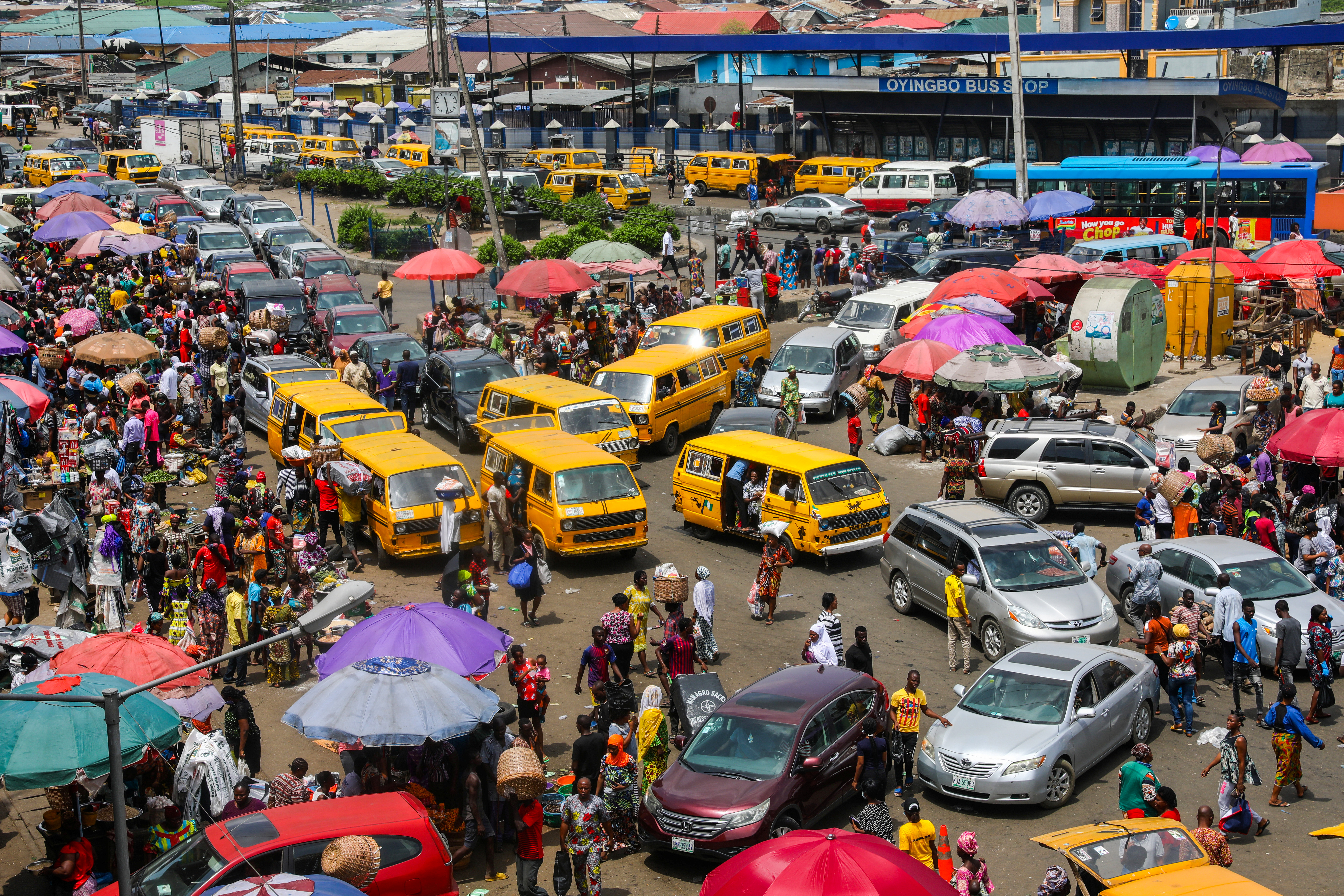 A general view of a food market after Nigeria's President Muhammadu Buhari called for a lockdown starting tonight to limit the spread of coronavirus disease (COVID-19), in Lagos, Nigeria March 30, 2020. REUTERS/Temilade Adelaja