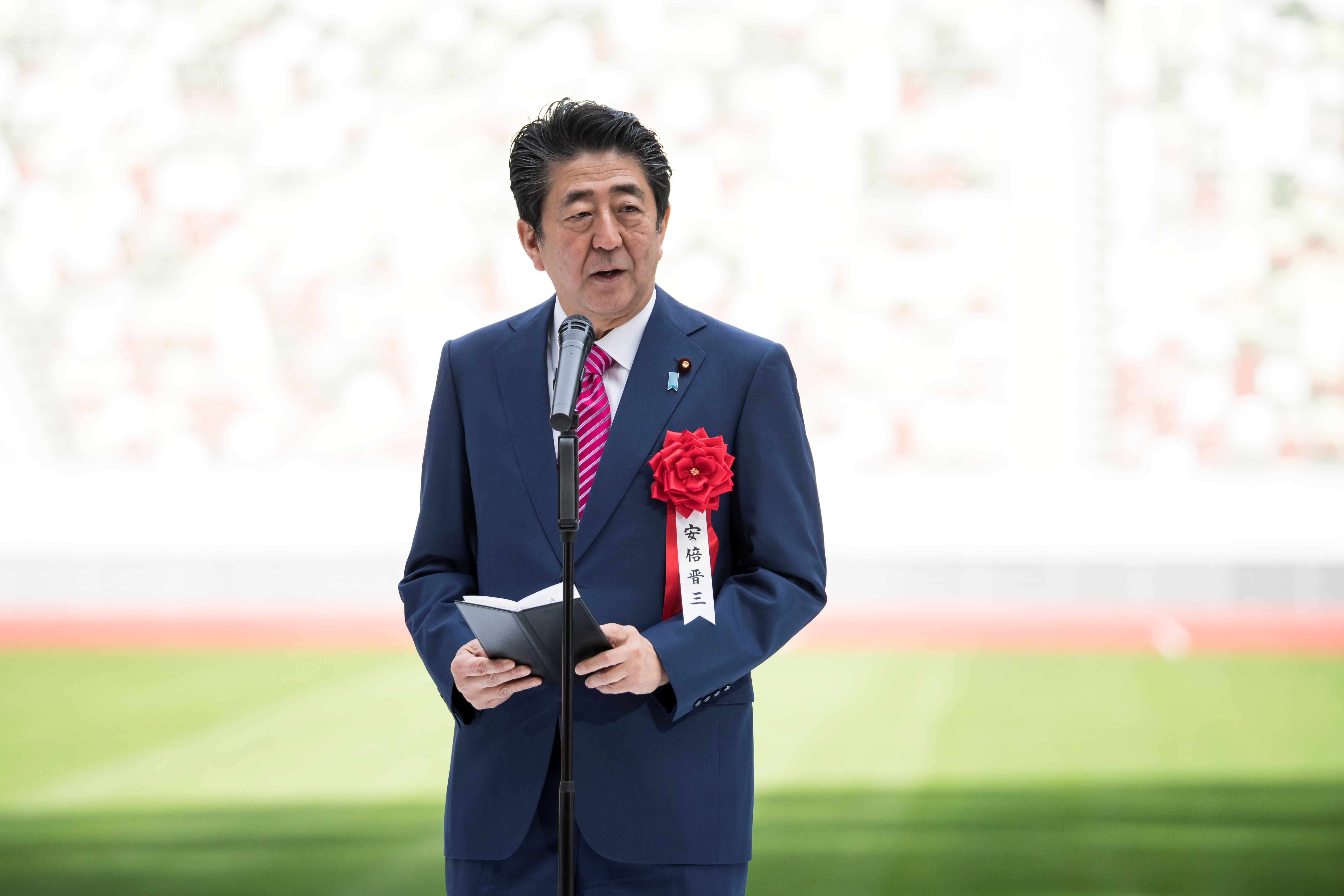 Japan's Prime Minister Shinzo Abe attends the construction completion ceremony of the New National Stadium on December 15, 2019 in Tokyo, Japan.   Tomohiro Ohsumi/Pool via REUTERS