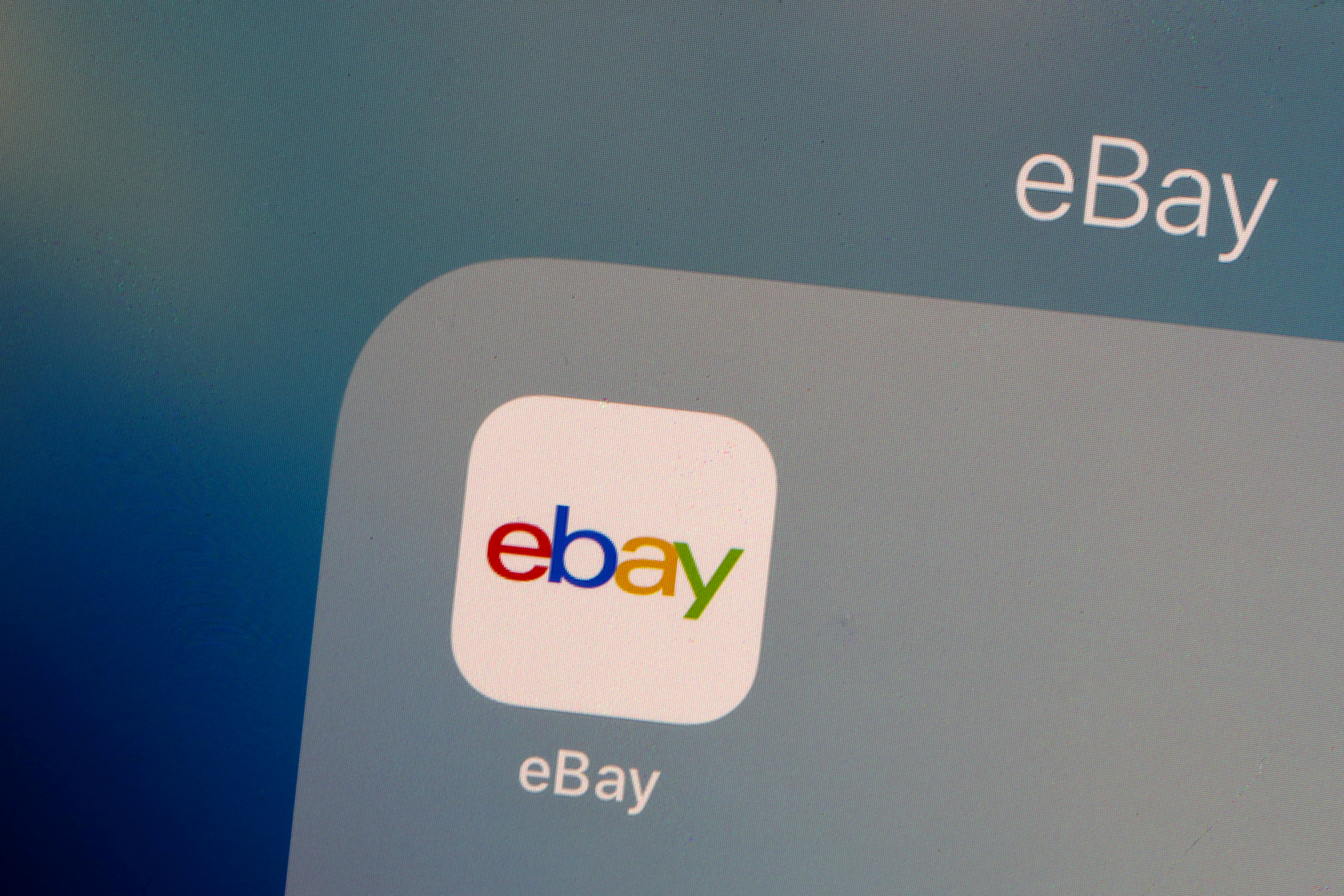 The eBay logo is pictured on a phone screen in this photo illustration July 23, 2019. REUTERS/Brendan McDermid/Illustration