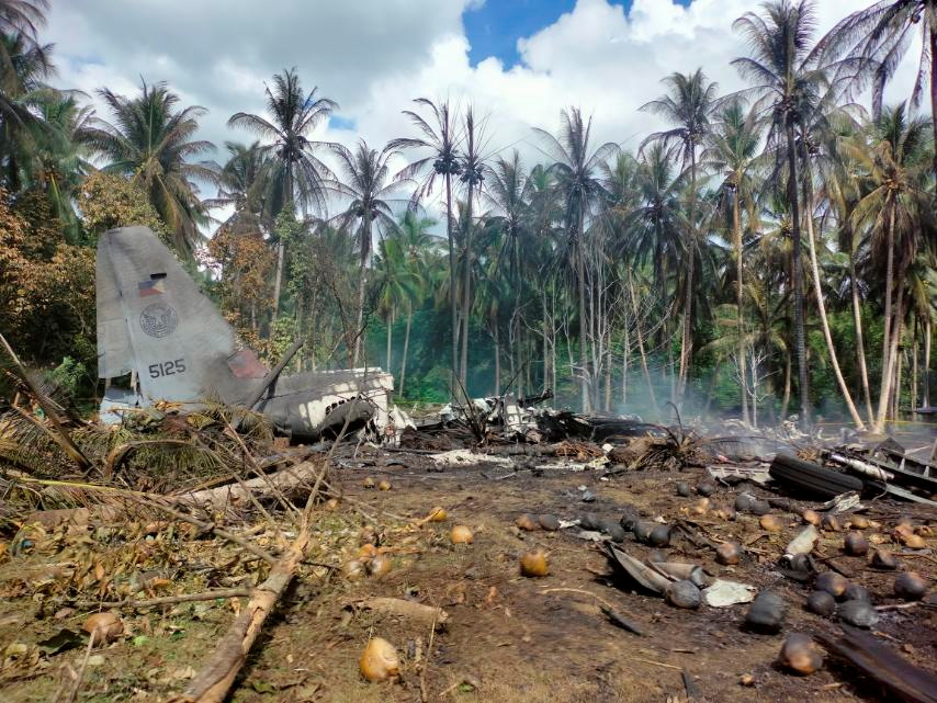 View of the site after a Philippines Air Force Lockheed C-130 plane carrying troops crashed on landing in Patikul, Sulu province, Philippines July 4, 2021. Armed Forces of the Philippines - Joint Task Force Sulu/Handout via REUTERS