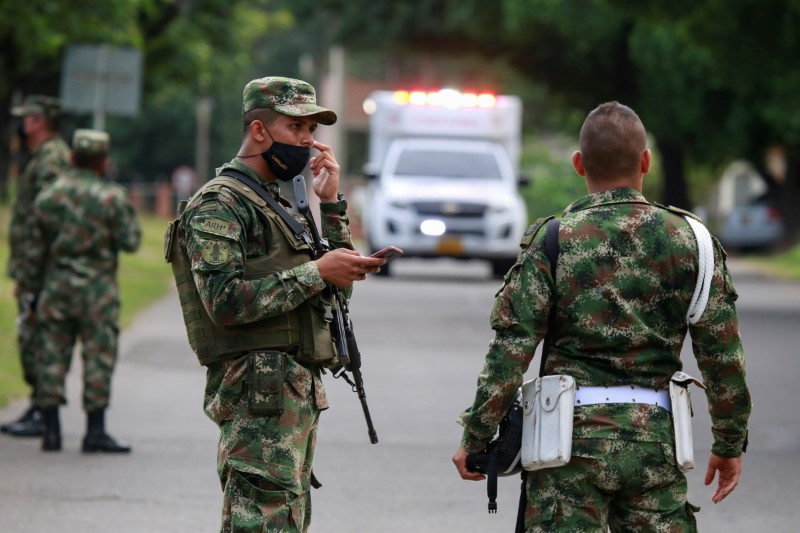 Soldiers patrol around a military battalion where a car bomb exploded, according to authorities, in Cucuta, Colombia June 15, 2021. REUTERS/Stringer