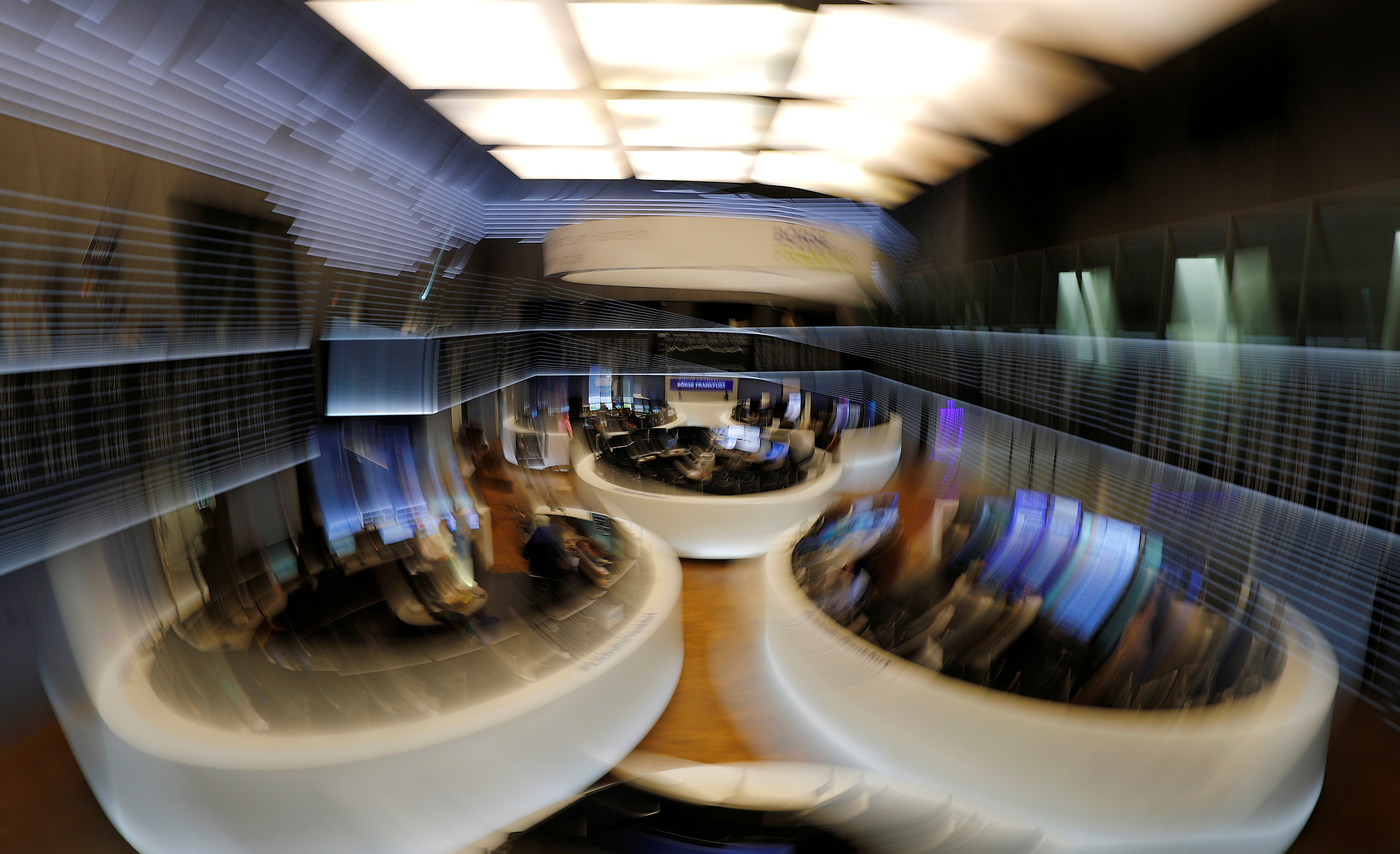 The trading floor is seen at the end of a trading day at the German stock exchange (Deutsche Boerse) in Frankfurt, Germany, February 12, 2019.  REUTERS/Kai Pfaffenbach