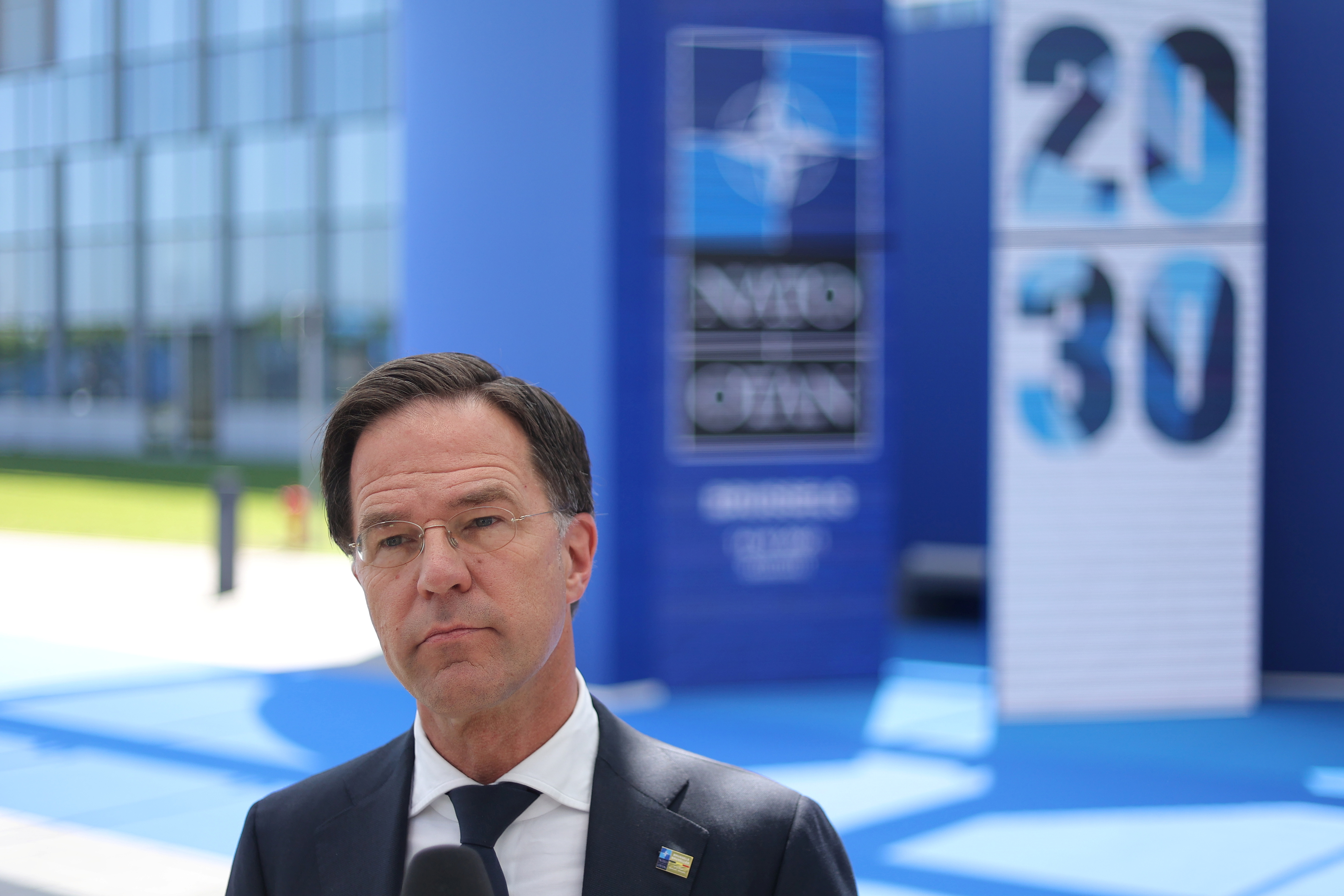 Dutch Prime Minister Mark Rutte arrives for the NATO summit at the Alliance's headquarters, in Brussels, Belgium, June 14, 2021. Kenzo Tribouillard/Pool via REUTERS