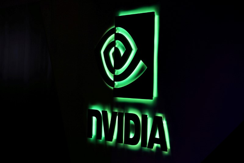 A Nvidia logo is shown at SIGGRAPH 2017 in Los Angeles, California, U.S. July 31, 2017.  REUTERS/Mike Blake/File Photo