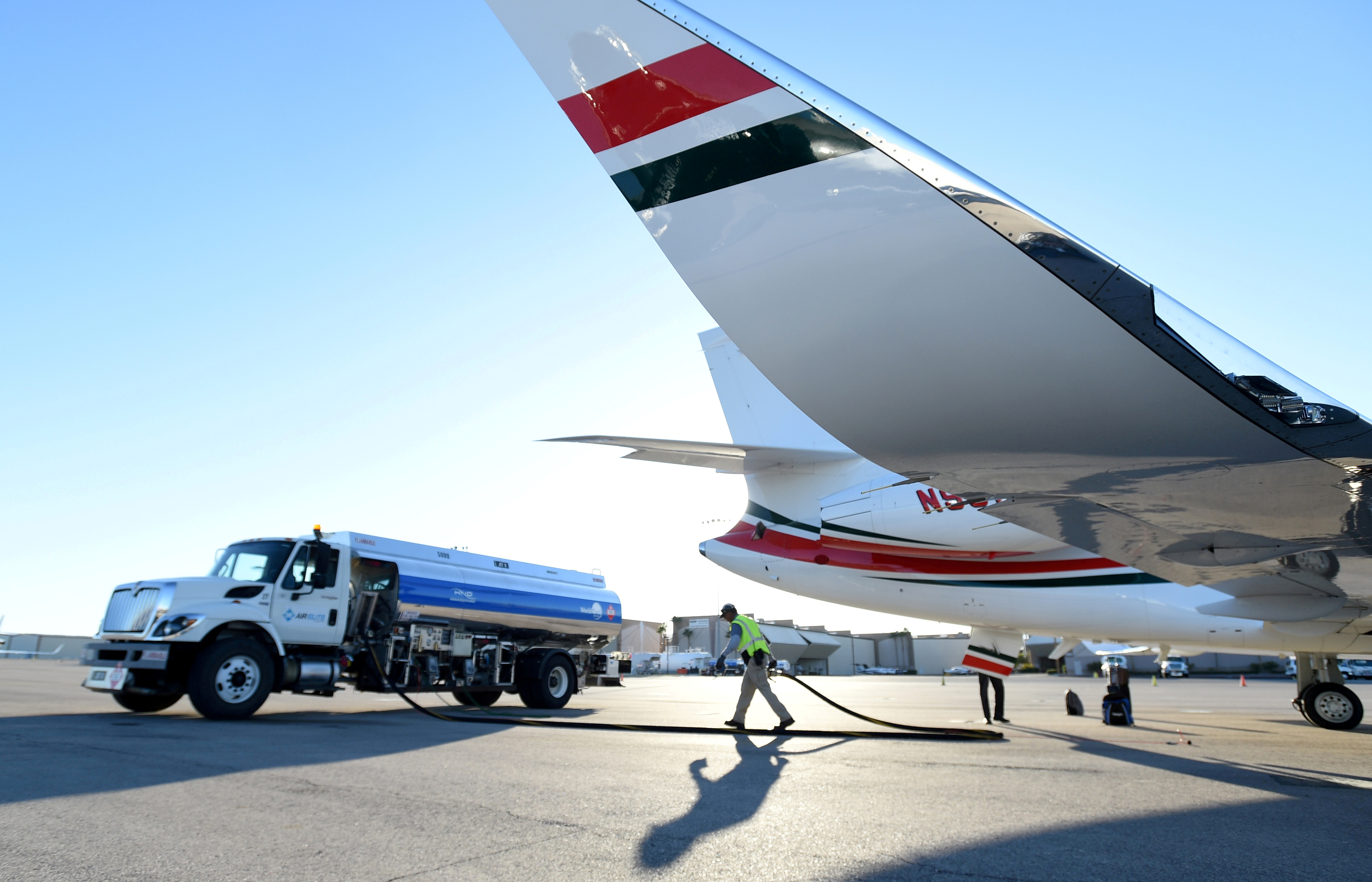 File photo: A business jet is refueled using Jet A fuel at the Henderson Executive Airport during the National Business Aviation Association (NBAA) exhibition in Las Vegas, Nevada, U.S. October 21, 2019.  REUTERS/David Becker
