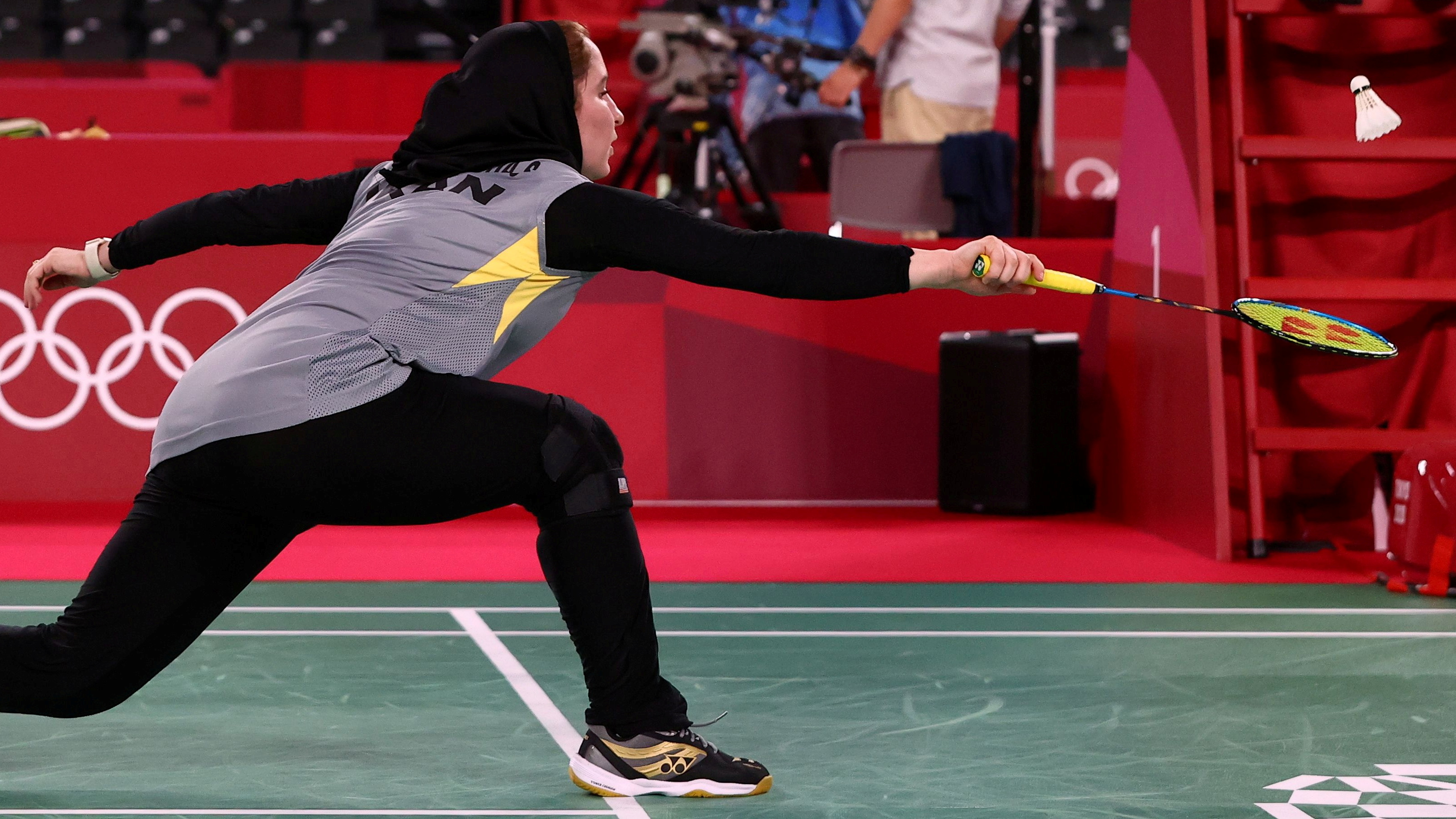 Tokyo 2020 Olympics - Badminton - Women's Singles - Group Stage - MFS - Musashino Forest Sport Plaza, Tokyo, Japan – July 28, 2021. Soraya Aghaeihajiagha of Iran in action during the match against He Bingjiao of China. REUTERS/Leonhard Foeger/File Photo