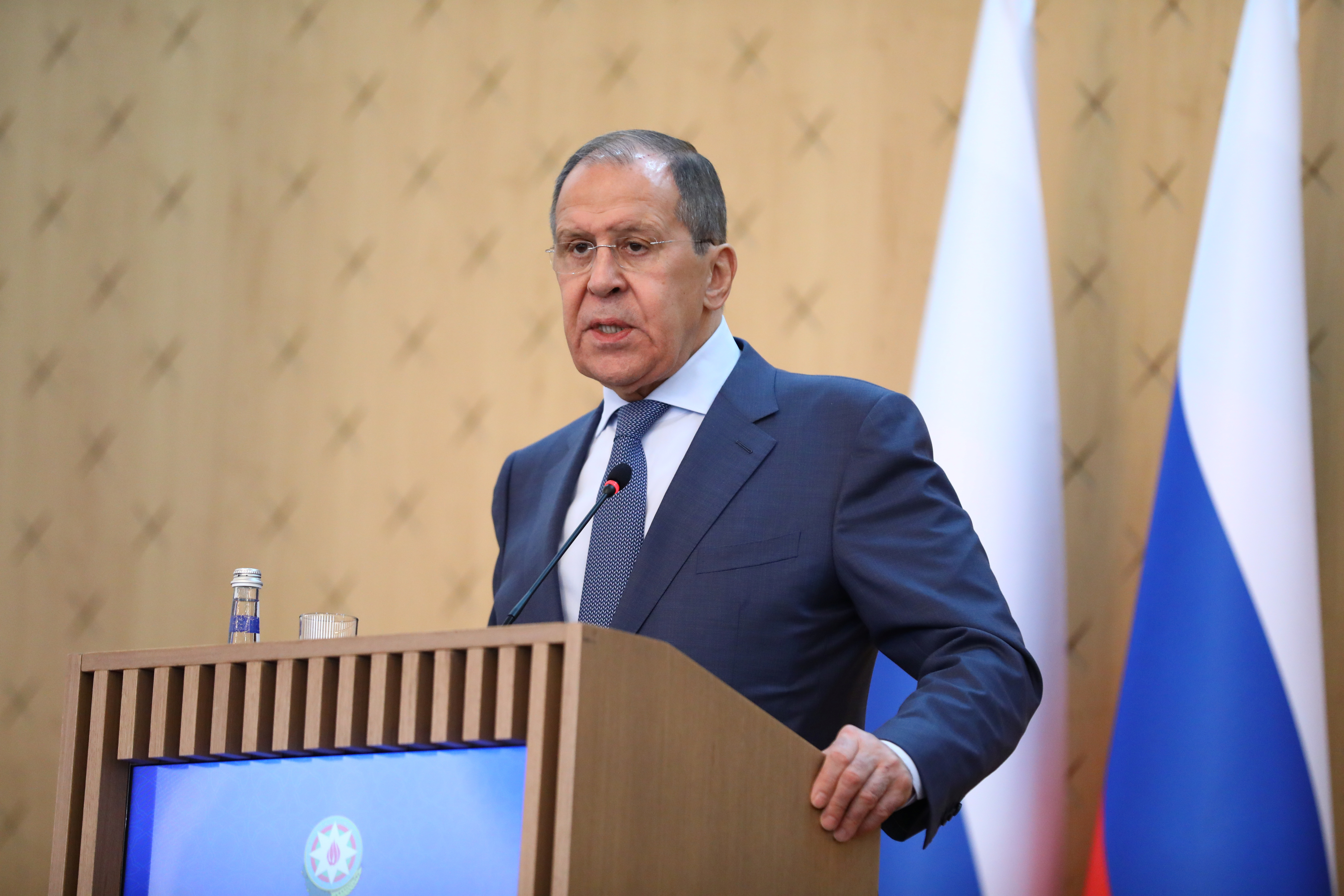 Russia's Foreign Minister Sergei Lavrov speaks during a joint news conference with Azerbaijan's Foreign Minister Jeyhun Bayramov following their meeting in Baku, Azerbaijan May 11, 2021. Russian Foreign Ministry/Handout via REUTERS