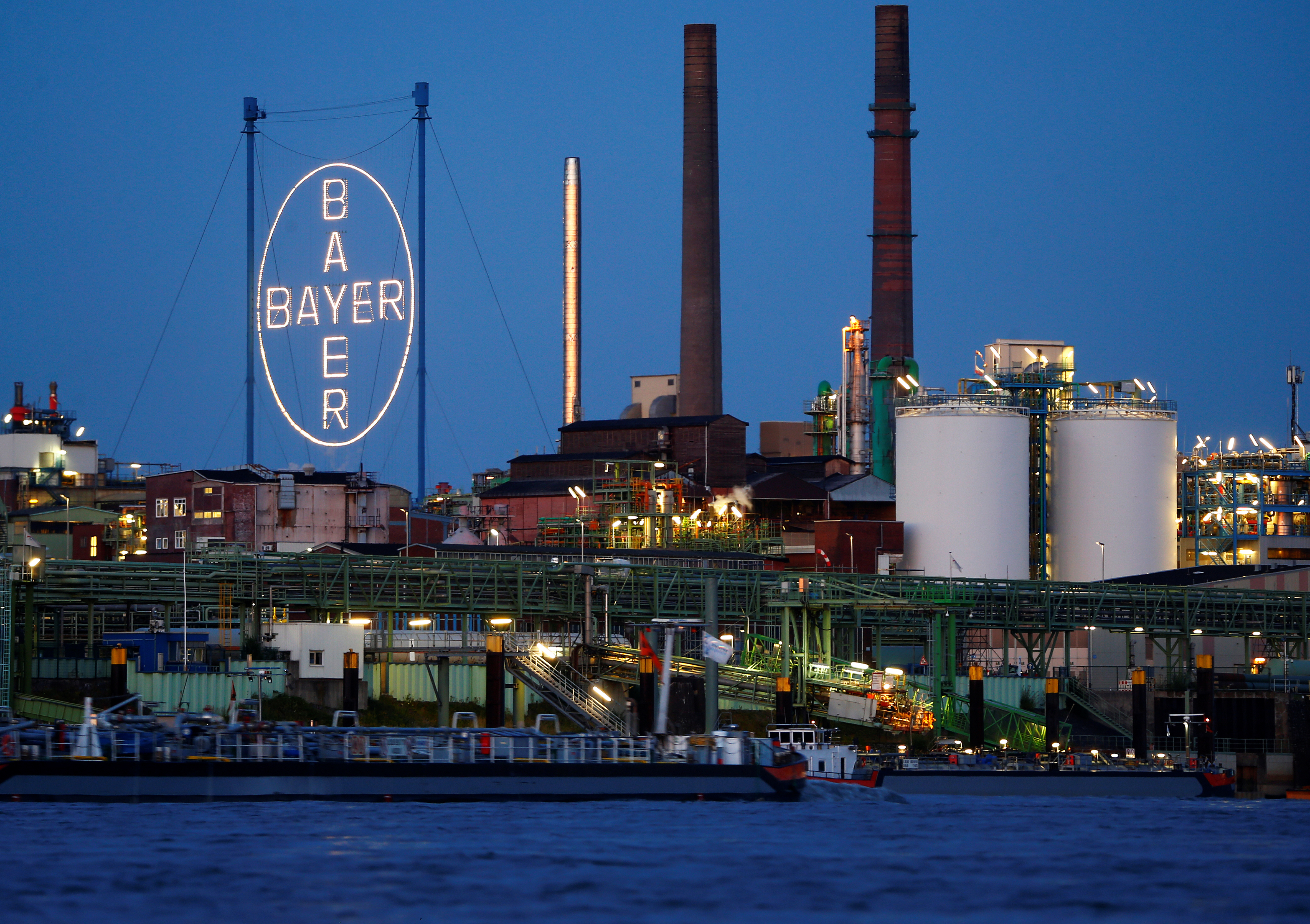 The so-called 'Chempark', the main plant and headquarters of German pharmaceutical and chemical maker Bayer AG is pictured along the river Rhine in Leverkusen, Germany, July 3, 2019. REUTERS/Thilo Schmuelgen