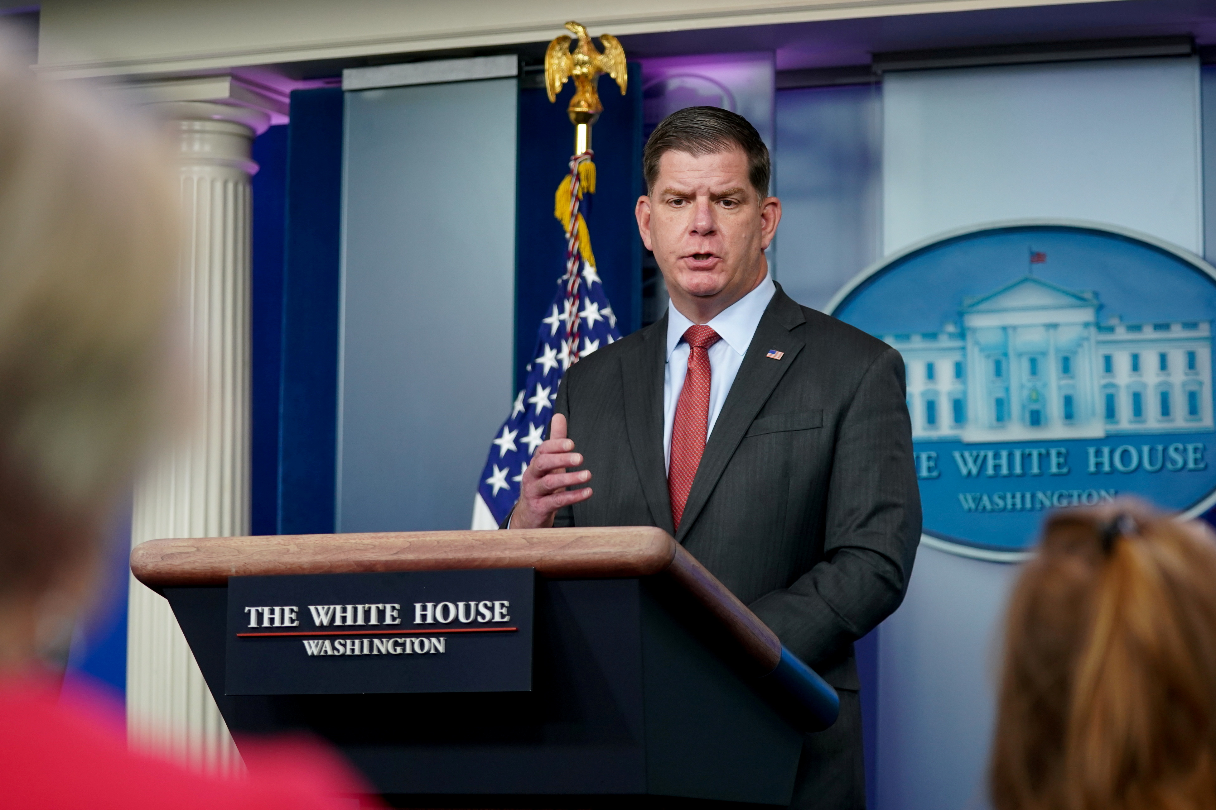 Secretary of Labor Marty Walsh speaks during a news conference at the White House in Washington, U.S. April 2, 2021. REUTERS/Erin Scott
