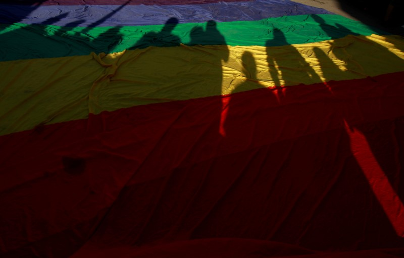 Participants' shadows are seen on a rainbow flag during a march in support of gay marriage, sexual and gender diversity in Ciudad Juarez, Mexico, June 10 2018. REUTERS/Jose Luis Gonzalez