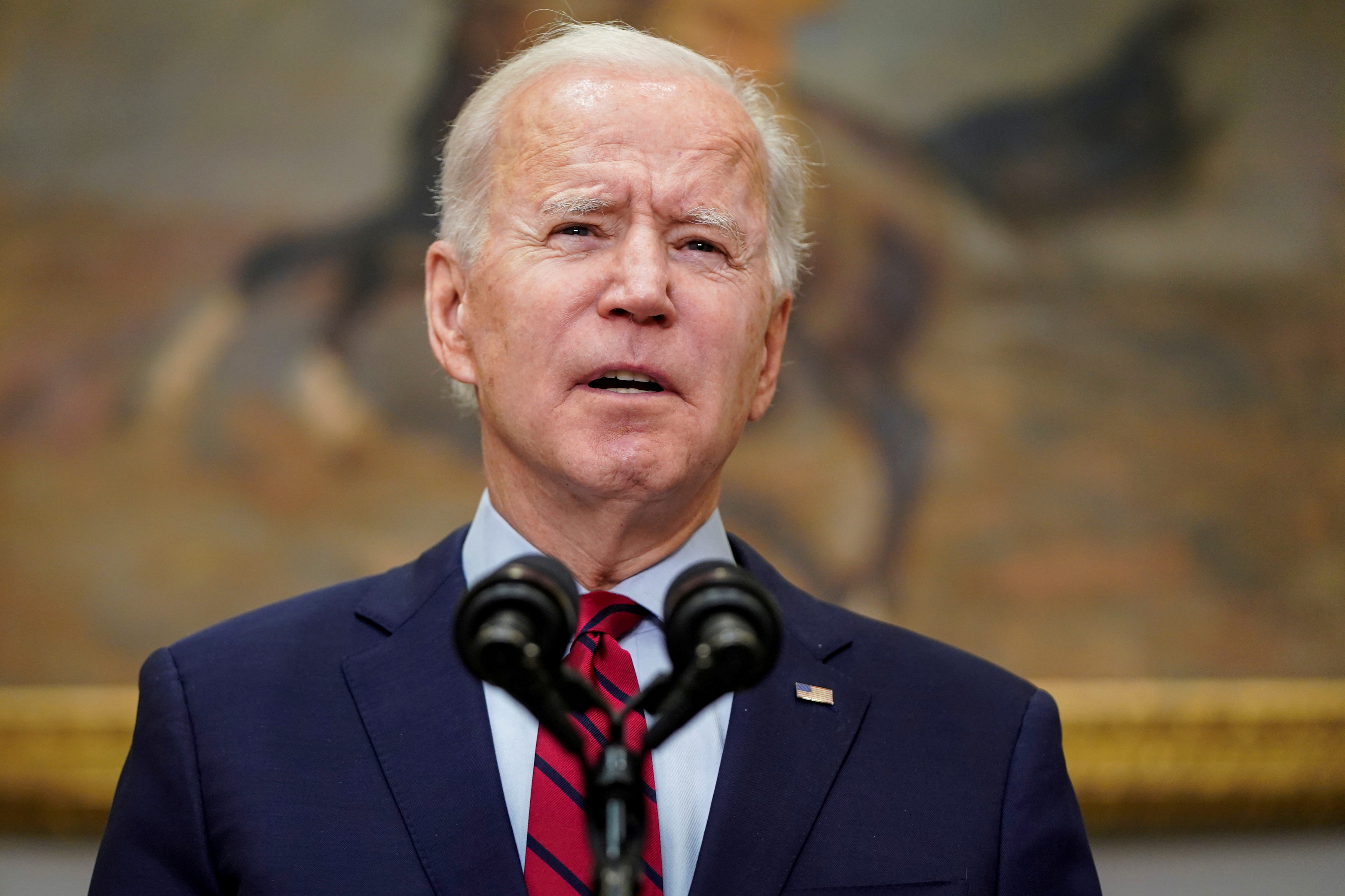 U.S. President Joe Biden speaks after the House of Representatives passed his $1.9 trillion coronavirus relief package in the Roosevelt Room of the White House in Washington, U.S., February 27, 2021.  REUTERS/Joshua Roberts - RC281M9NH5NG
