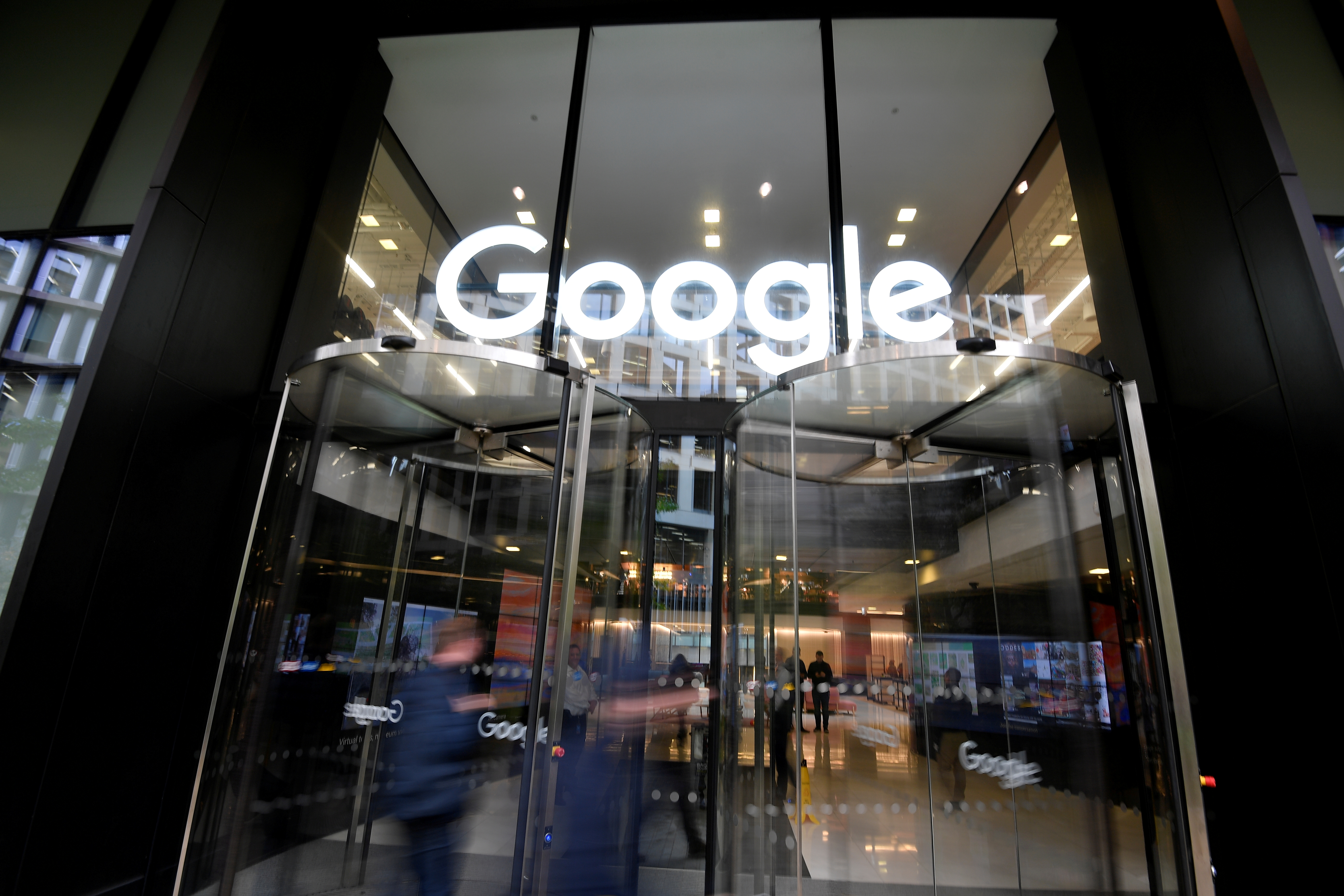 The Google name is displayed outside the company's office in London, Britain November 1, 2018.  REUTERS/Toby Melville/File Photo