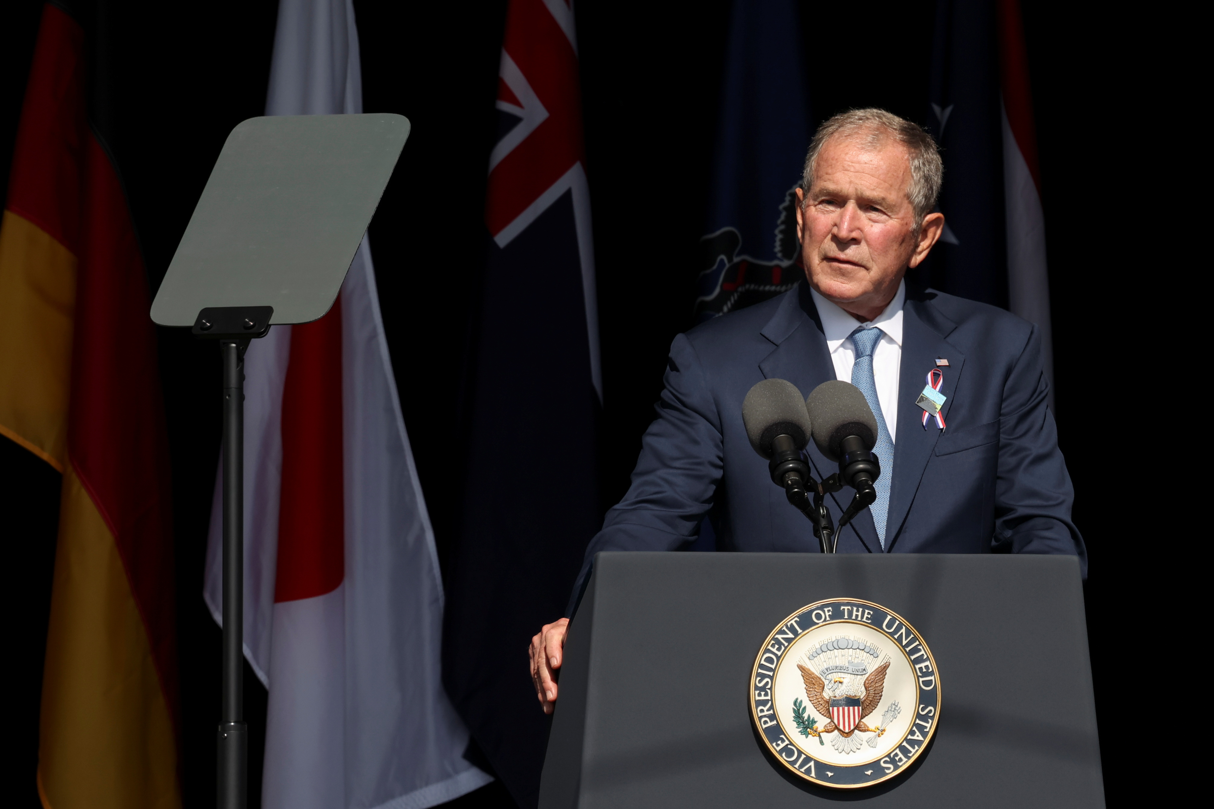 Former U.S. President George W. Bush speaks during an event commemorating the 20th anniversary of the September 11, 2001 attacks at the Flight 93 National Memorial in Stoystown, Pennsylvania, U.S., September 11, 2021. REUTERS/Hannah Beier