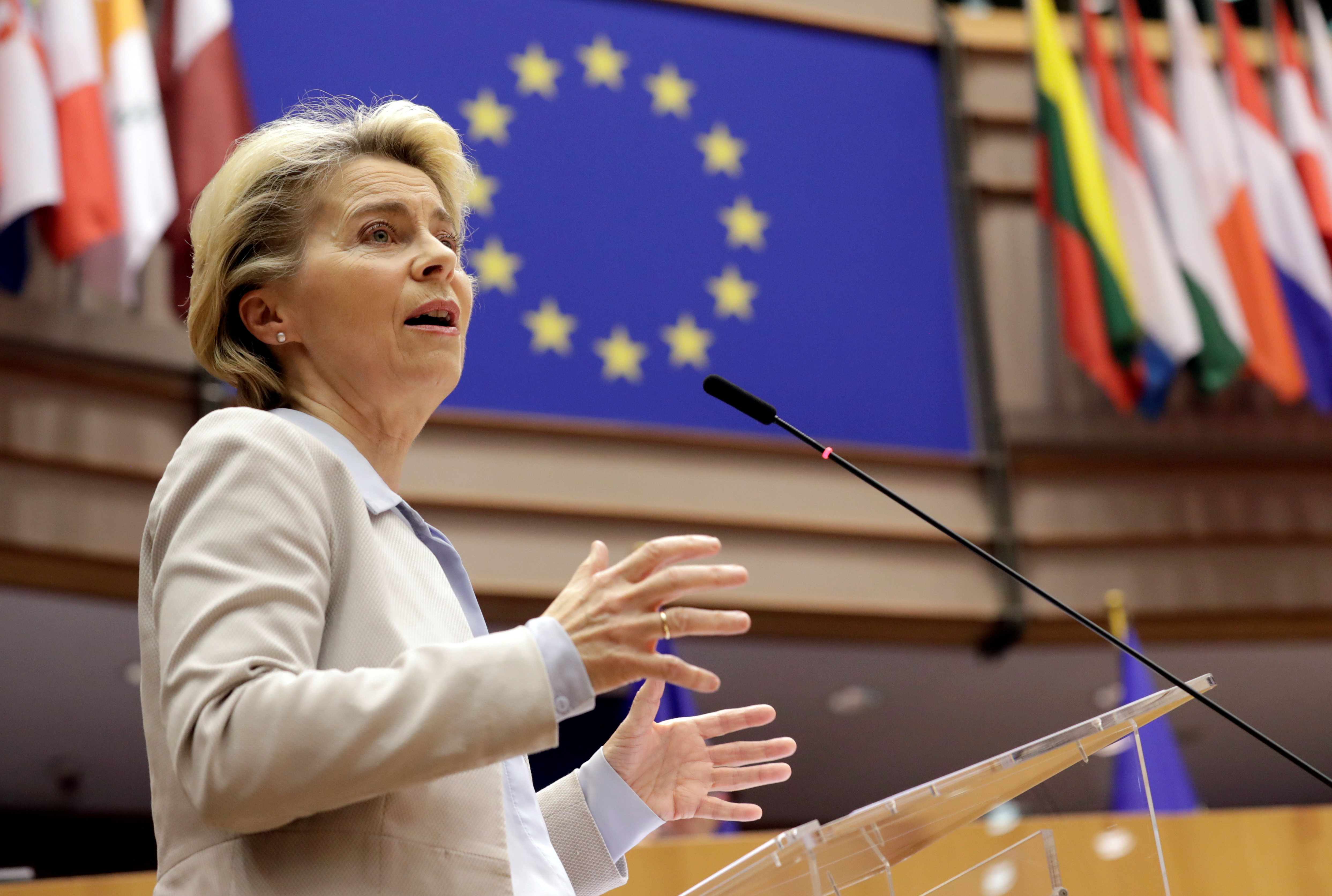 European Commission President Ursula Von Der Leyen speaks during a debate on next EU council and last Brexit development during a plenary session at the European Parliament in Brussels, Belgium November 25, 2020. Olivier Hoslet/Pool via REUTERS/File Photo