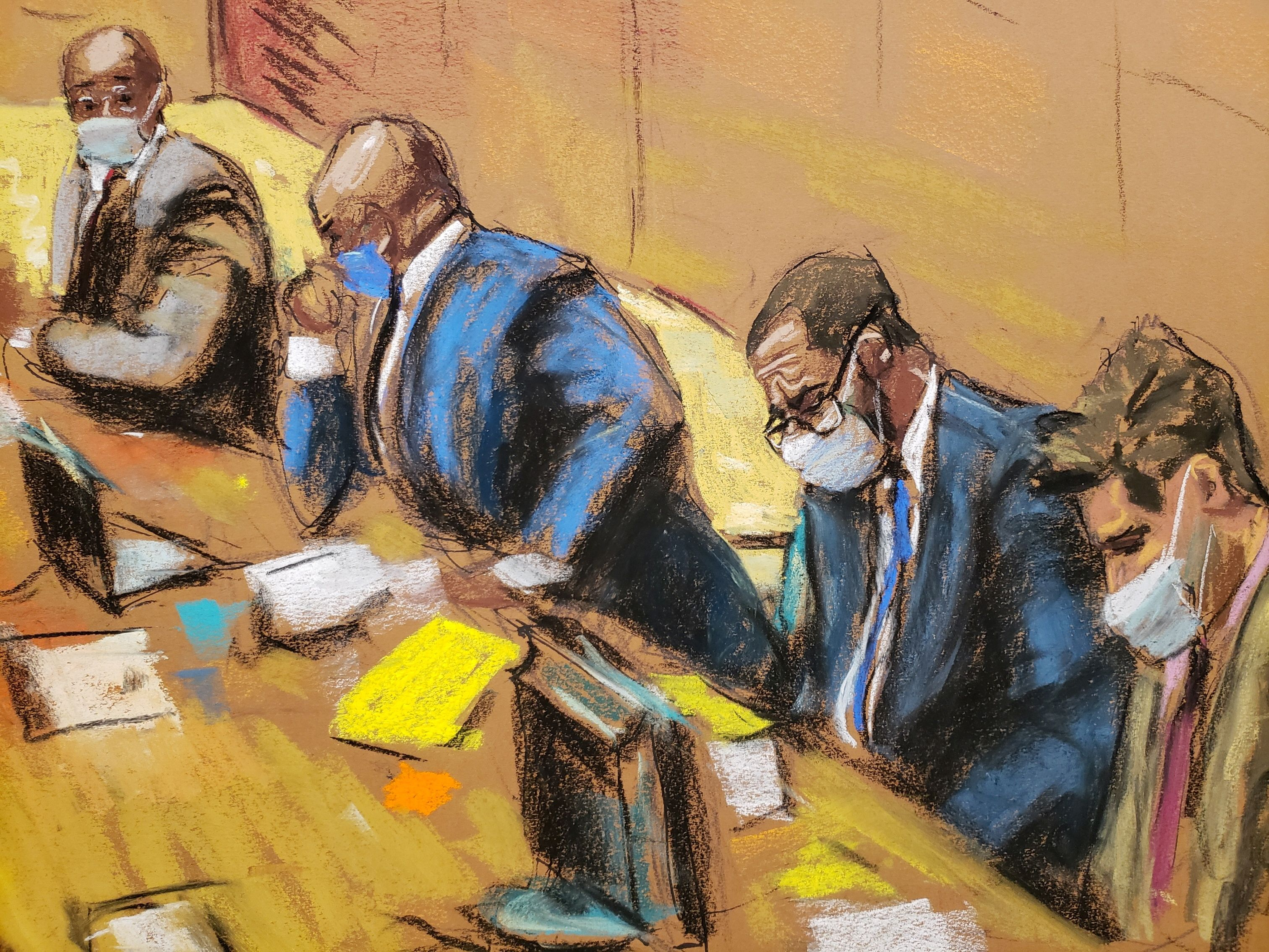 R. Kelly sits with his lawyers Deveraux Cannick, Calvin Scholar and Thomas Farinella as the jury deliberate in Kelly's sex abuse trial at Brooklyn's Federal District Court in a courtroom sketch in New York, U.S., September 27, 2021. REUTERS/Jane Rosenberg
