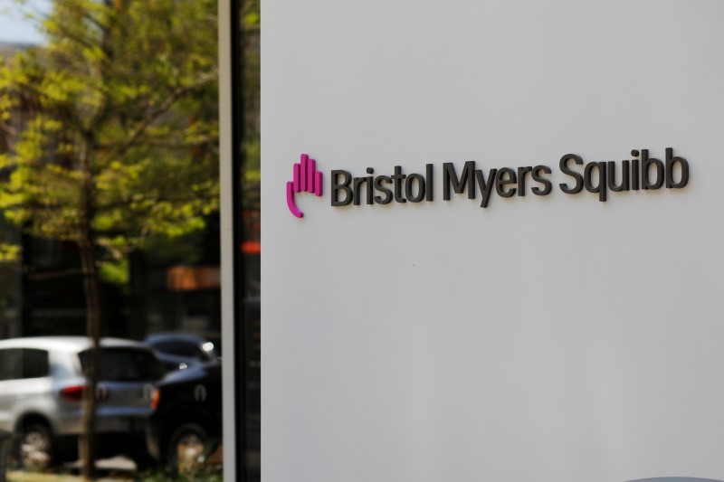 A sign stands outside a Bristol Myers Squibb facility in Cambridge, Massachusetts, U.S., May 20, 2021. REUTERS/Brian Snyder